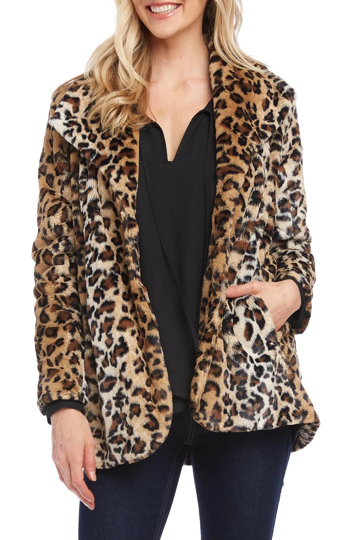 KAREN KANE Leopard Print Faux Fur Coat, Main, color, LEOPARD