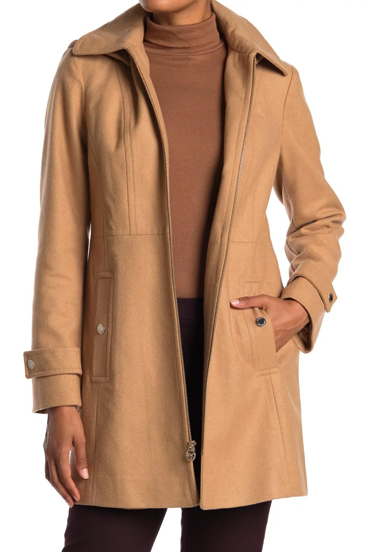 michael michael kors zip front wool blend hooded coat nordstrom rack