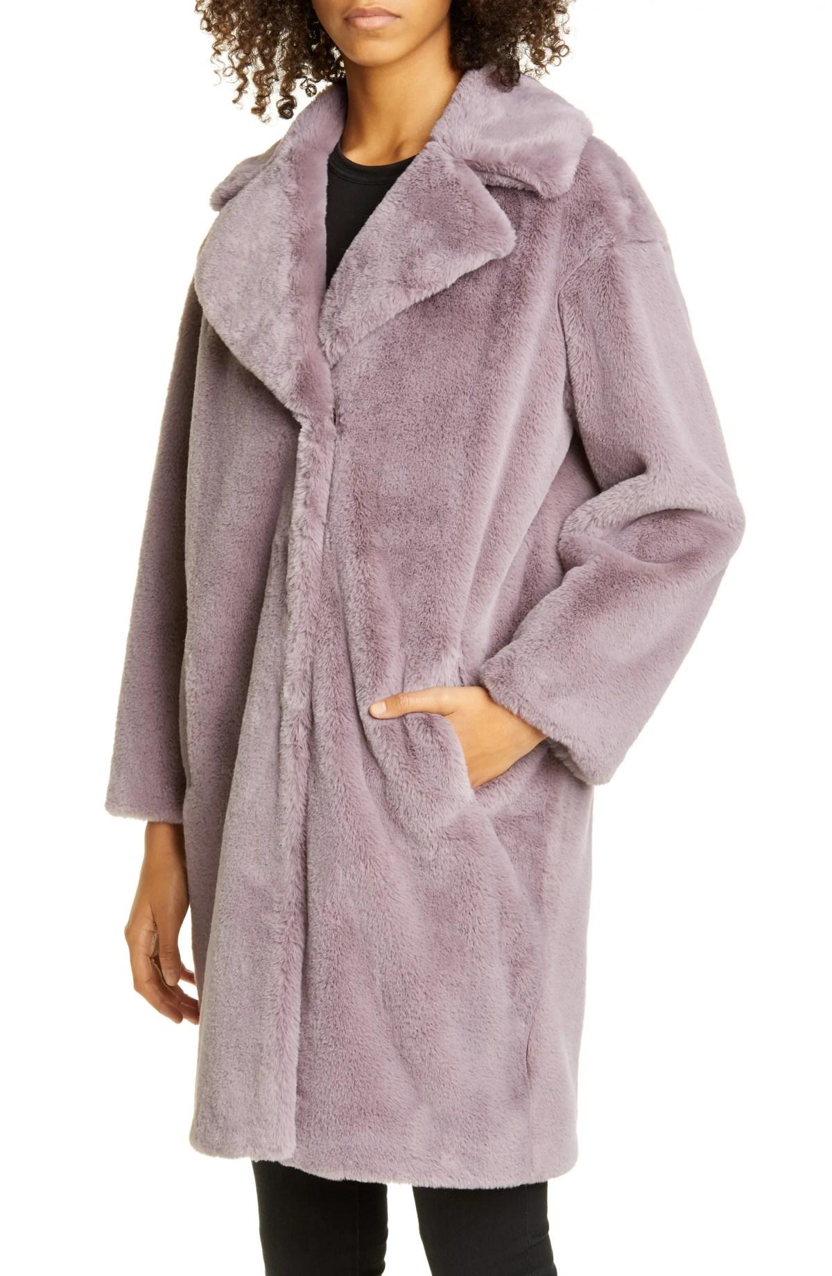 STAND STUDIO Camille Faux Fur Cocoon Coat, Main, color, 5140 DUSTY LAVENDER