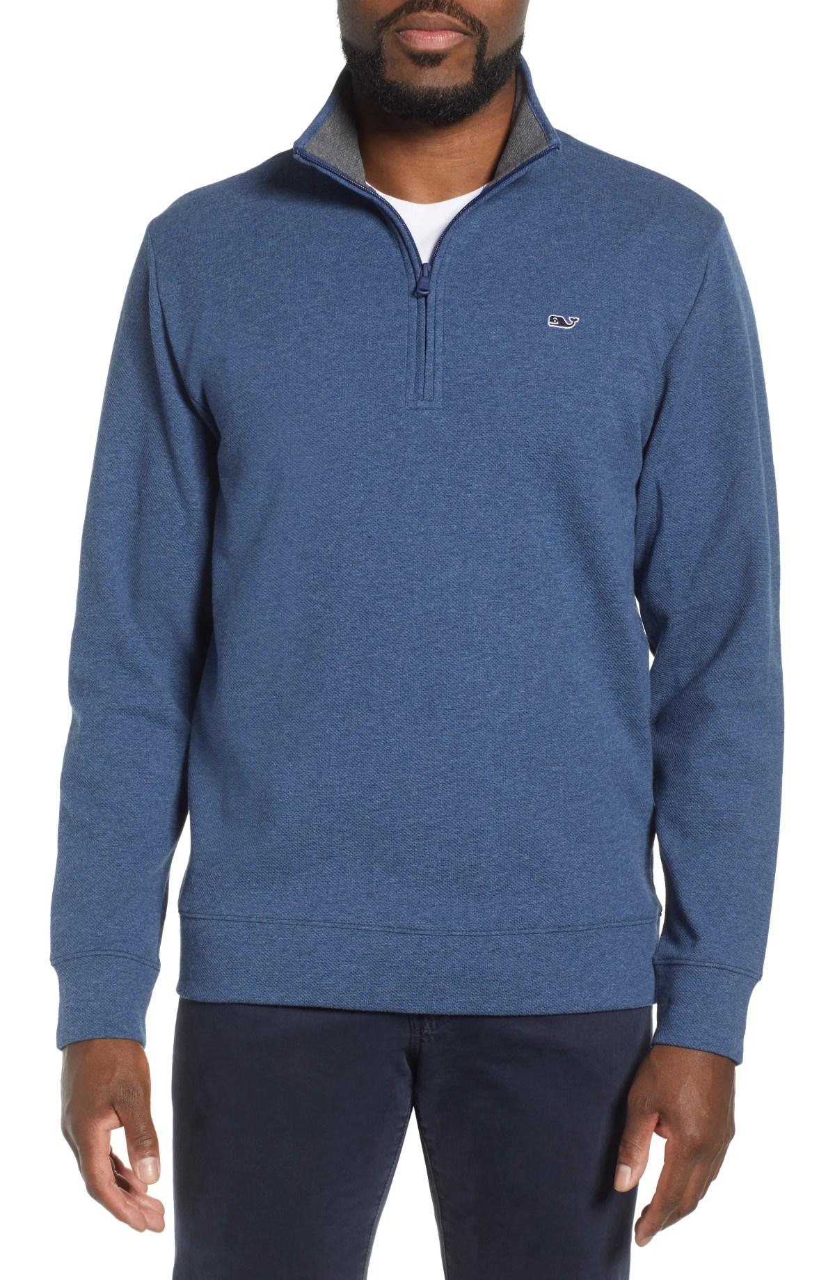 VINEYARD VINES Saltwater Quarter Zip Pullover, Main, color, DEEP BAY