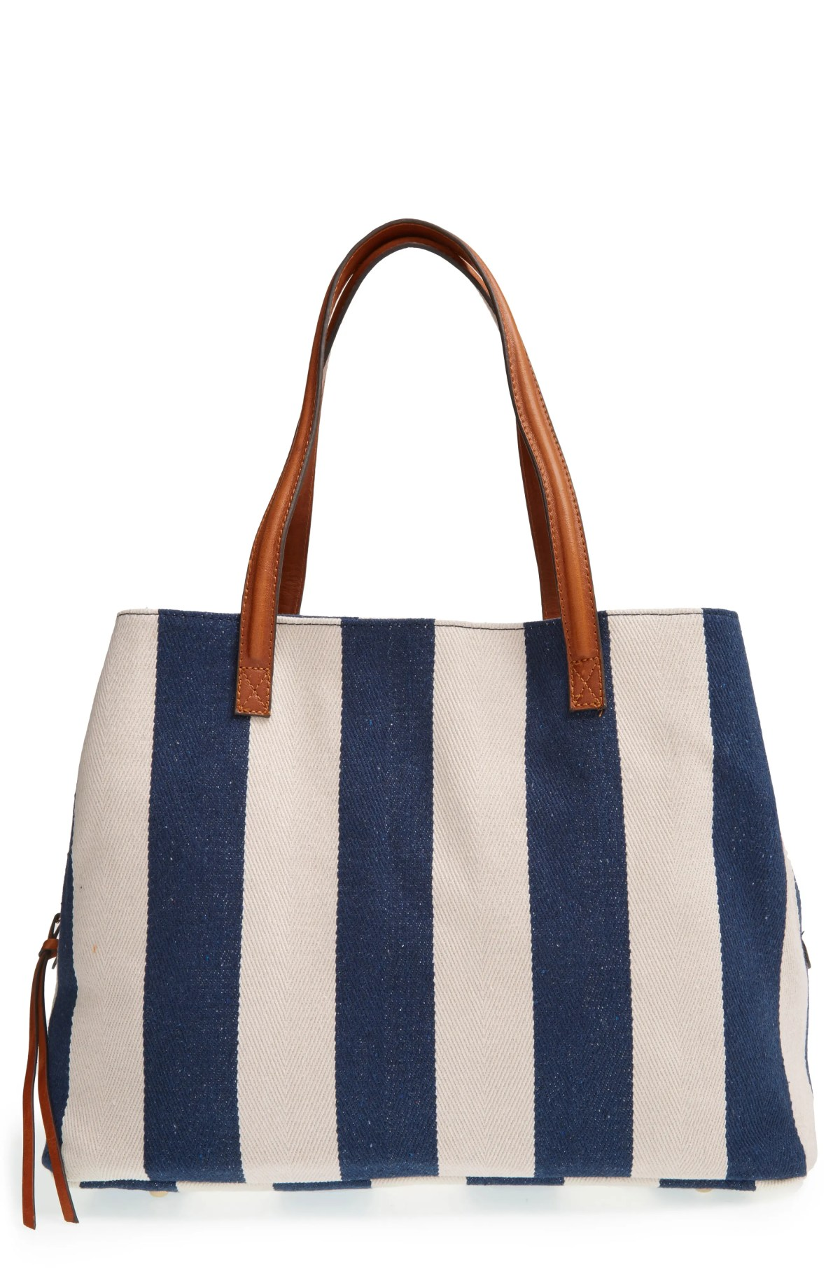 'Oversize Millie' Stripe Print Tote, Main, color, NAVY CREAM