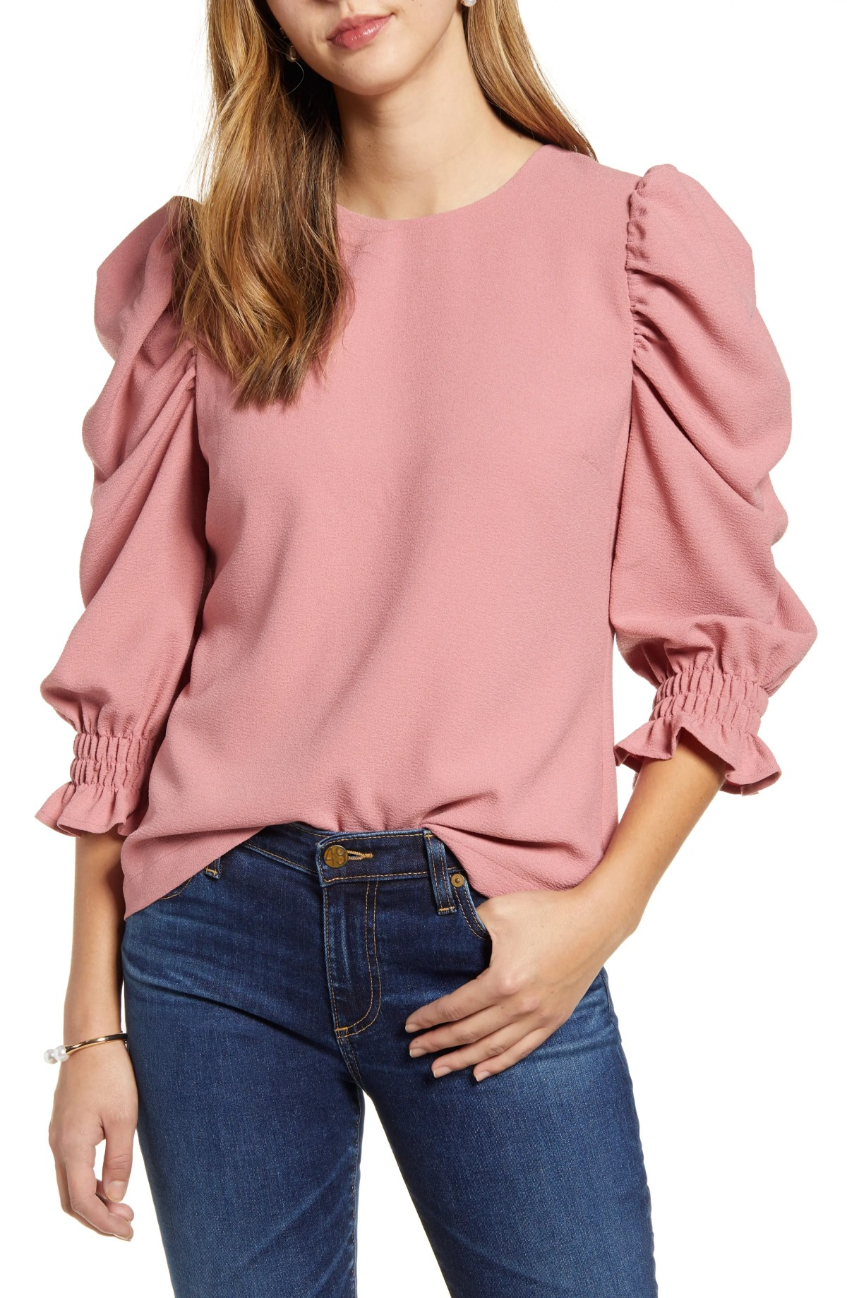 RACHEL PARCELL Puff Sleeve Top, Main, color, PINK COMPACT