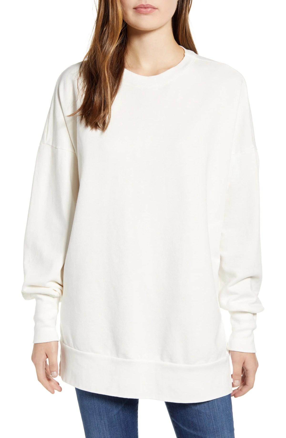 CASLON<SUP>®</SUP> Side Slit Cotton Sweatshirt, Main, color, IVORY