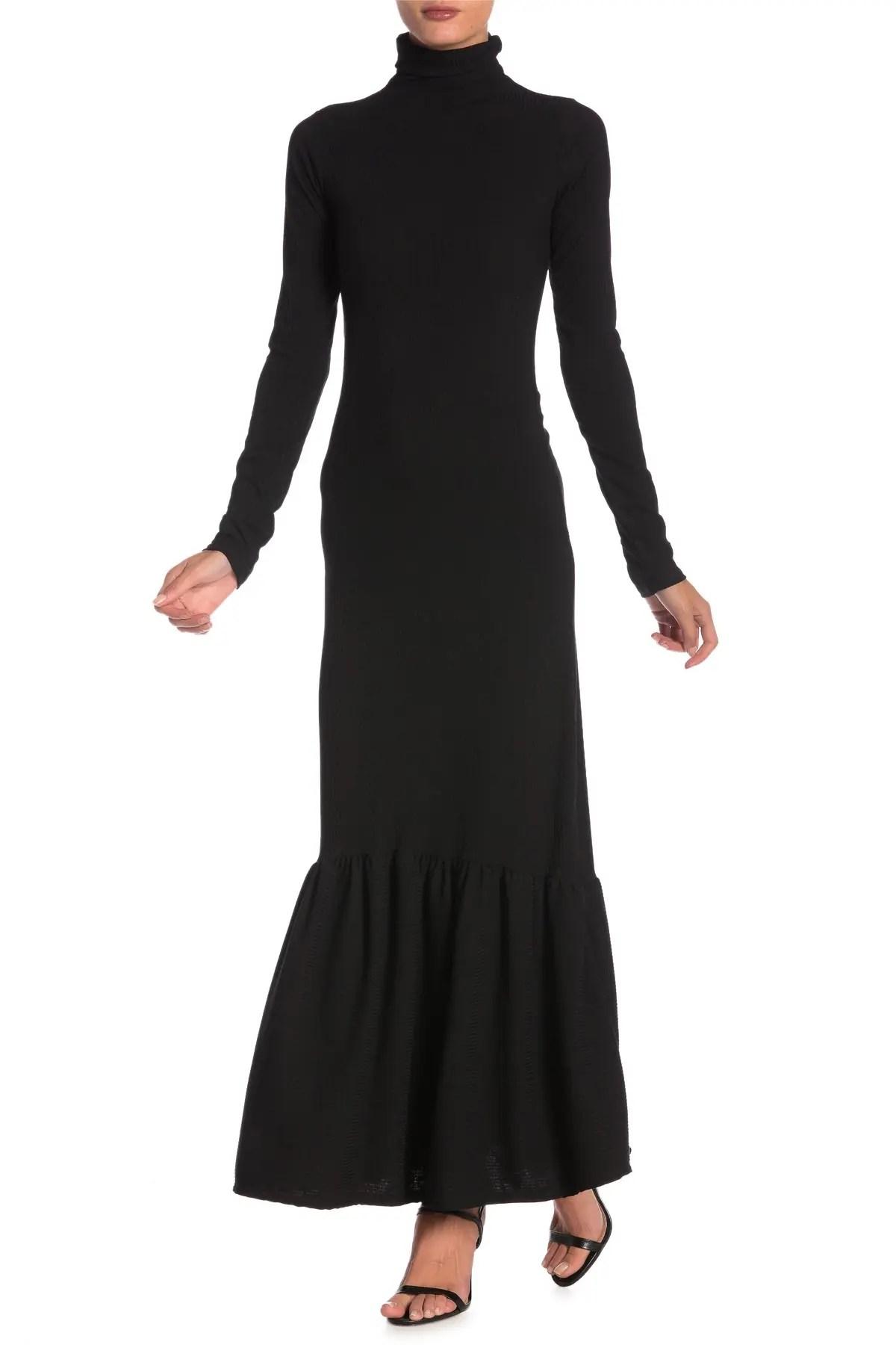 go couture long sleeve turtleneck maxi dress nordstrom rack