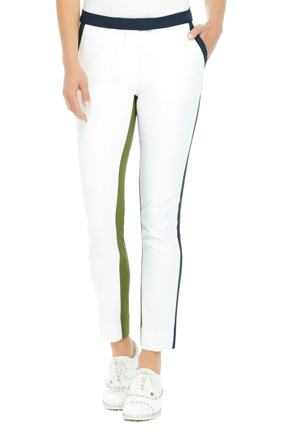 Colorblock Golf Pants, Main, color, SNOW/ OLIVE