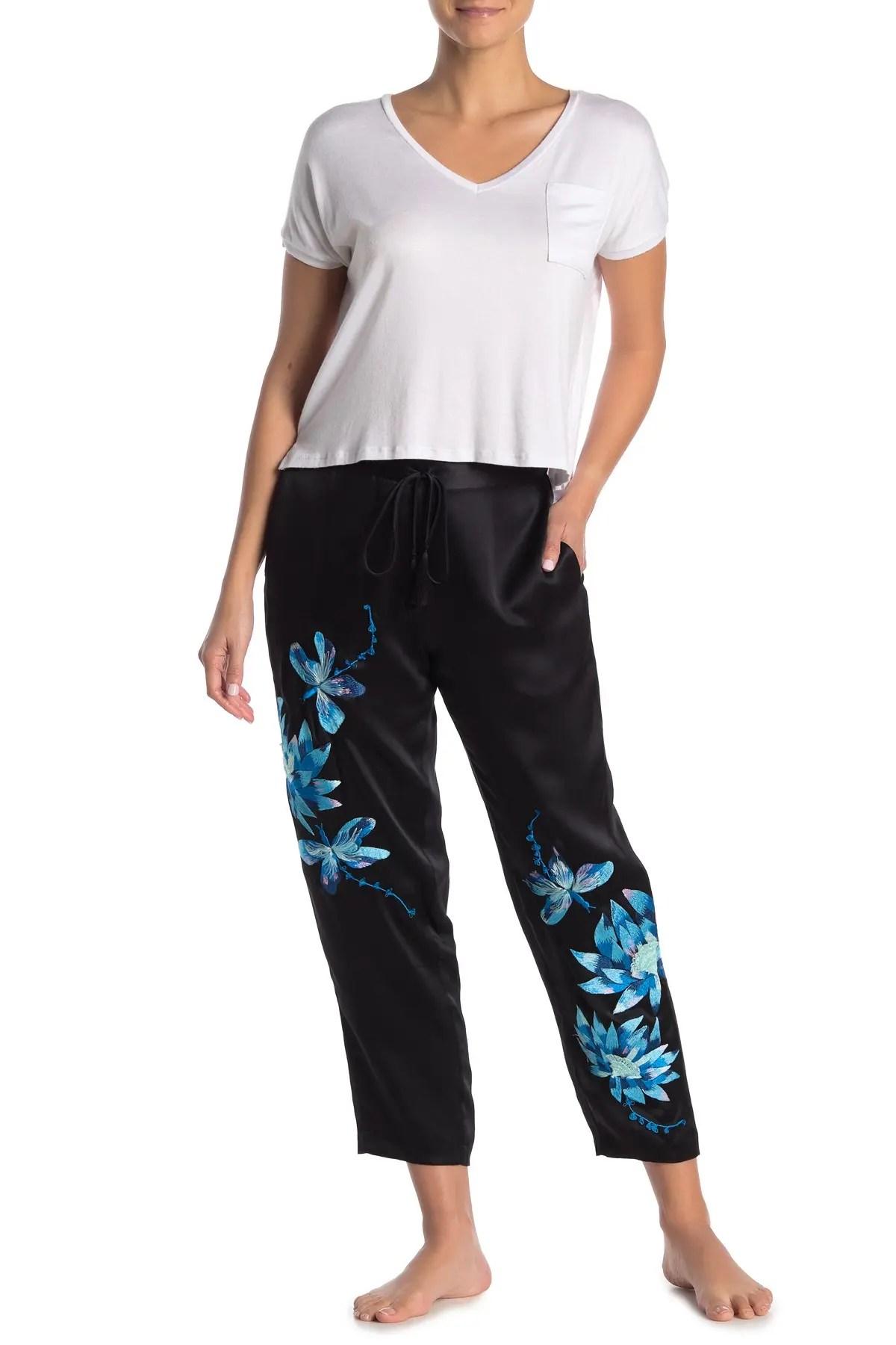 josie natori embroidered dragonfly silk pajama pants nordstrom rack