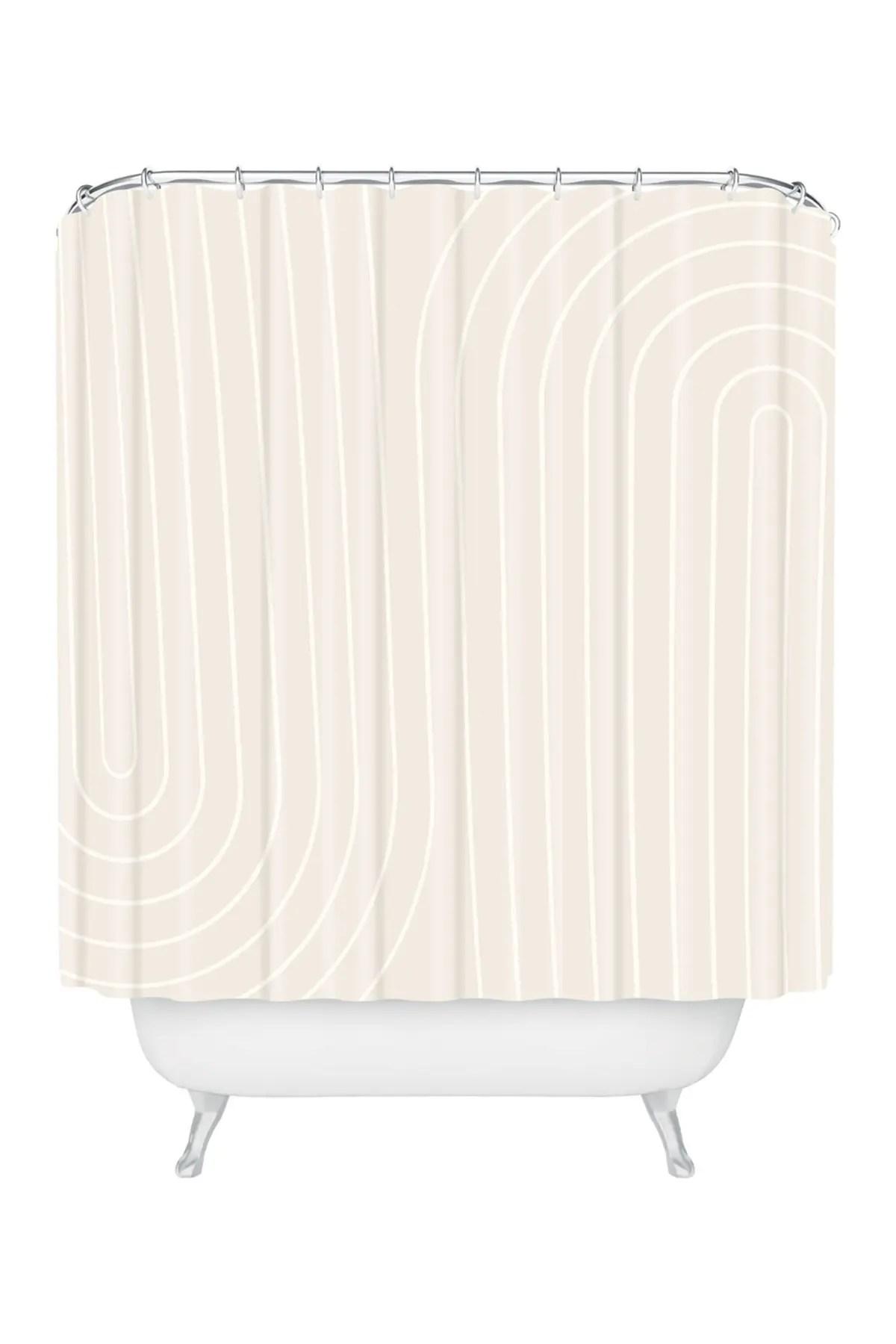 deny designs colour poems minimal line curvature off white shower curtain nordstrom rack