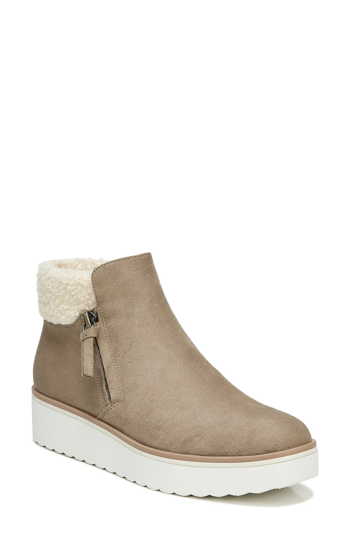 DR. SCHOLL'S Lunar Faux Shearling Bootie, Main, color, WOOD BROWN FABRIC