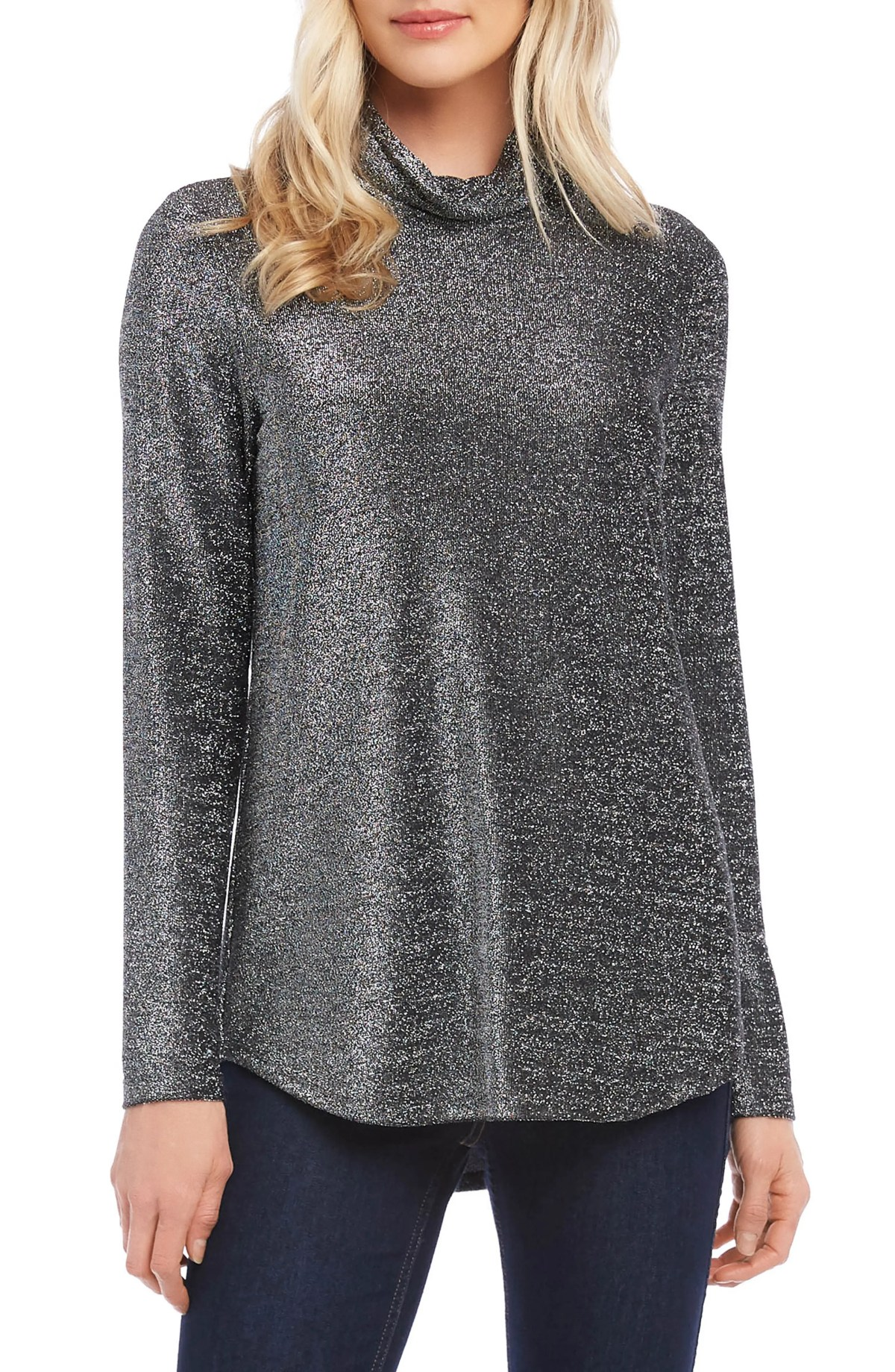 KAREN KANE Shimmer Long Sleeve Turtleneck, Main, color, BLACK