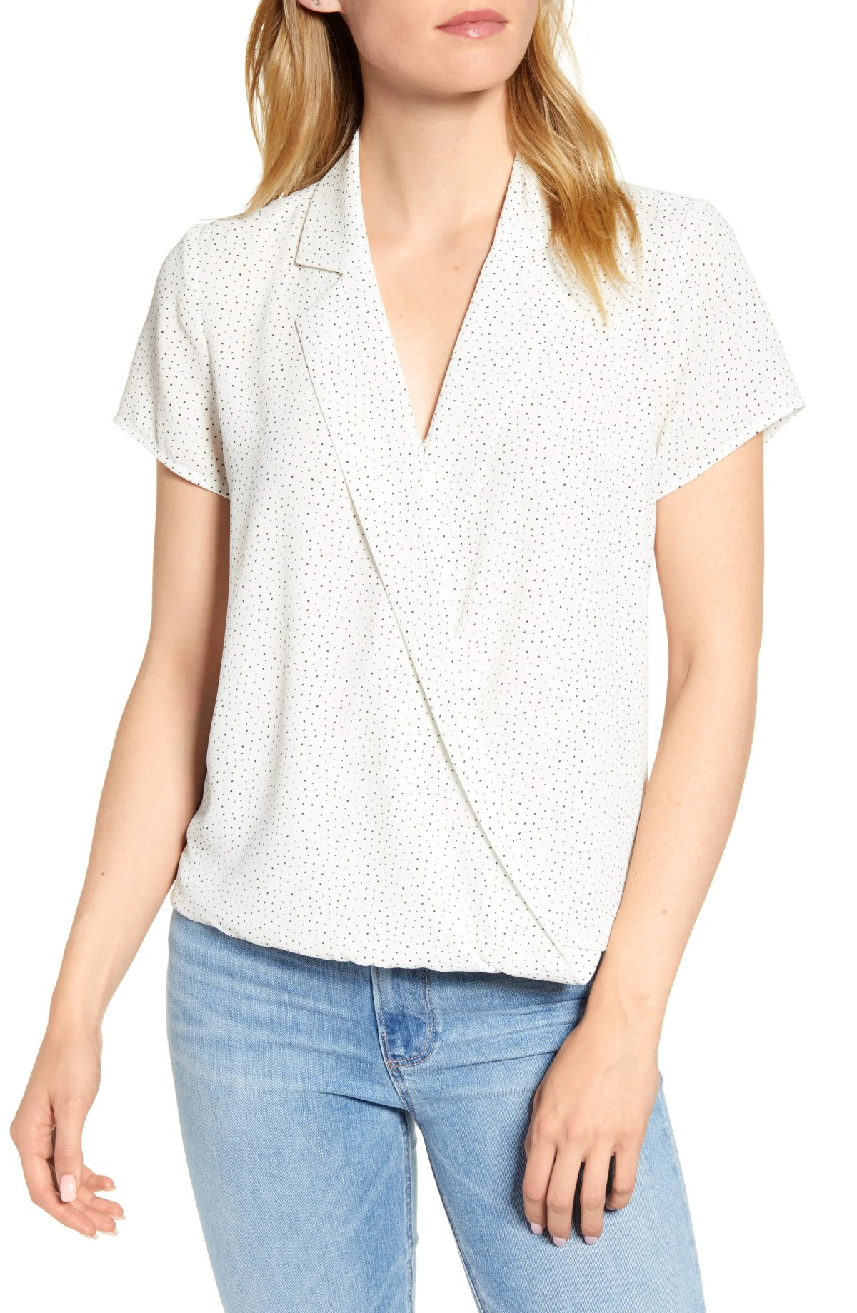 Speckle Dot Wrap Top, Main, color, PEARL IVORY