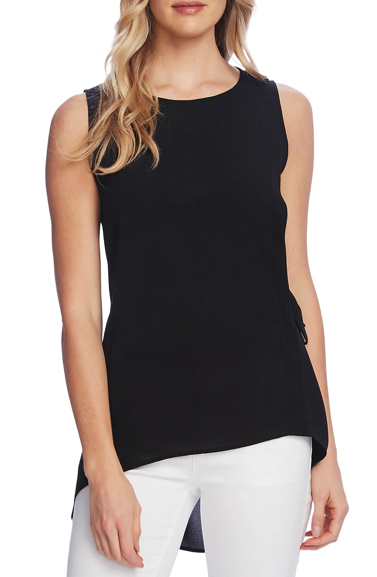 VINCE CAMUTO Side Tie Sleeveless High Low Blouse, Main, color, RICH BLACK