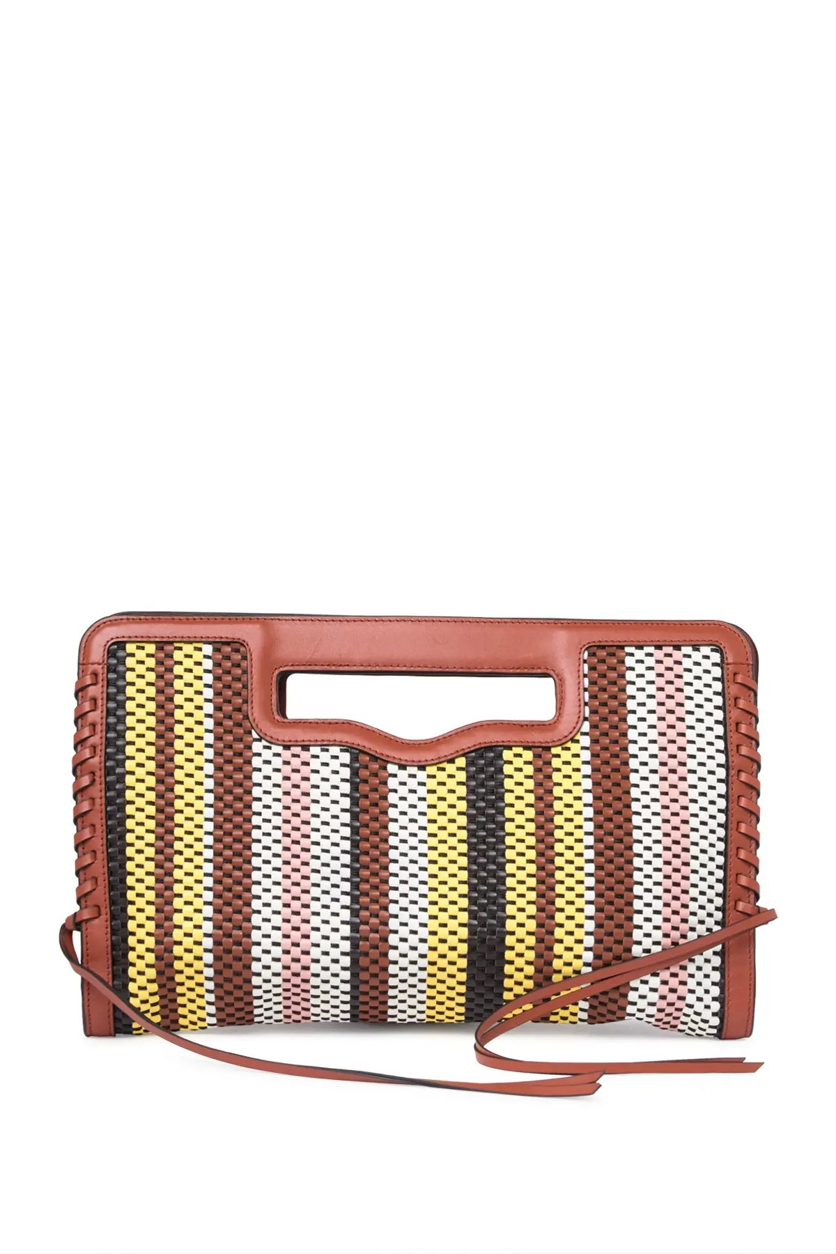 rebecca minkoff handheld striped woven leather clutch nordstrom rack