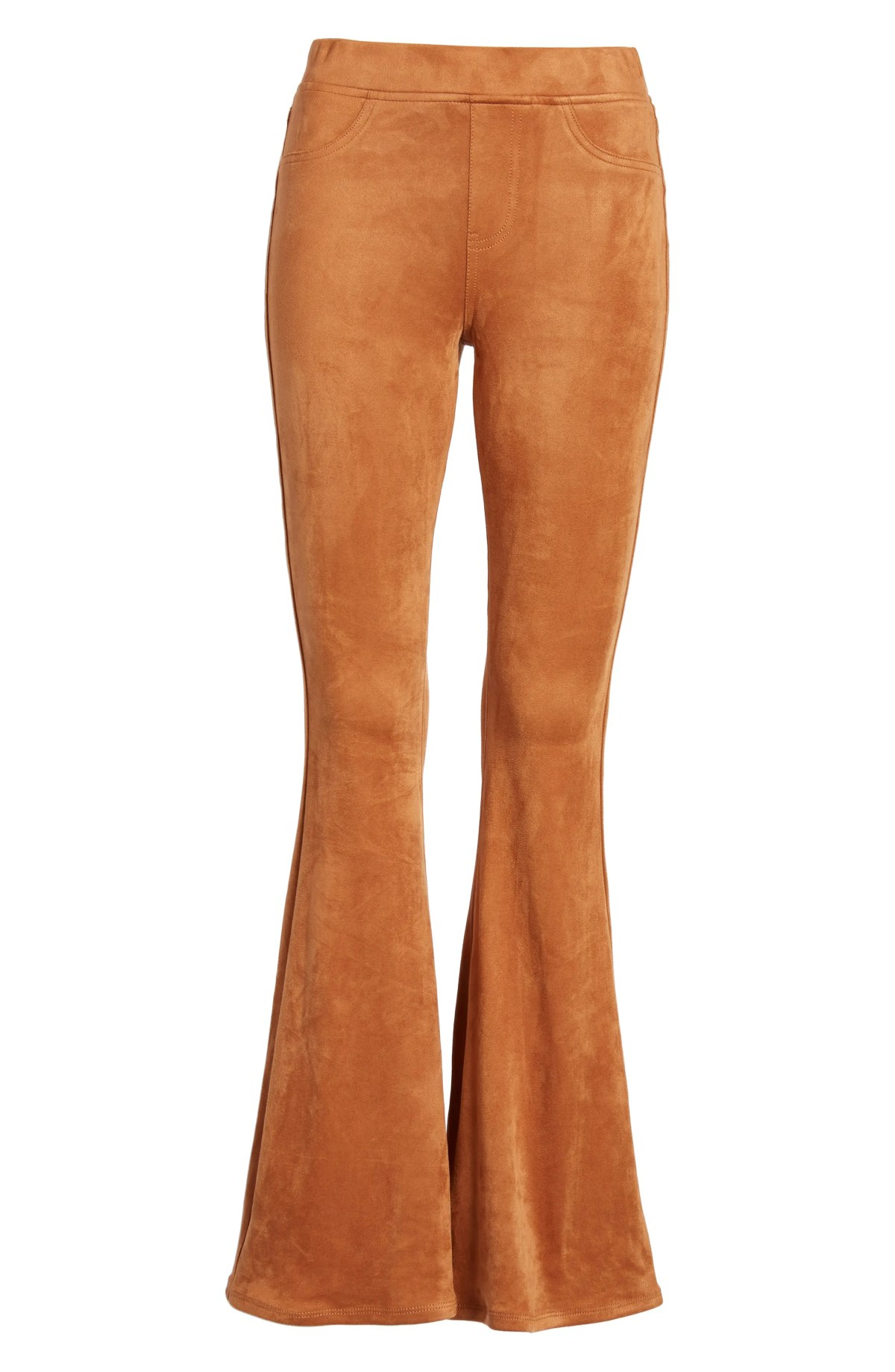 LOVE, FIRE Faux Suede Flare Pants, Alternate, color, CARMEL