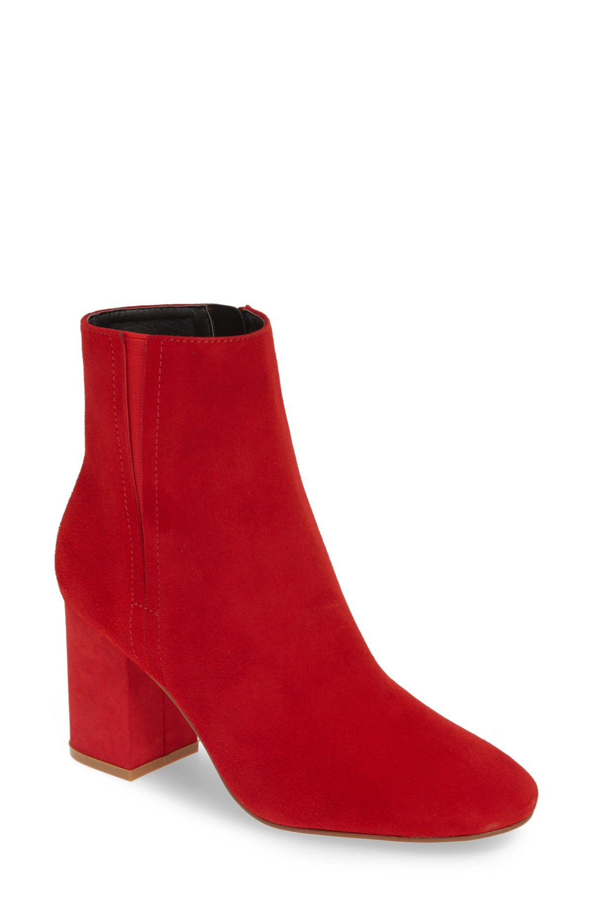 HALOGEN<SUP>®</SUP> Abbi Block Heel Bootie, Main, color, RED SUEDE