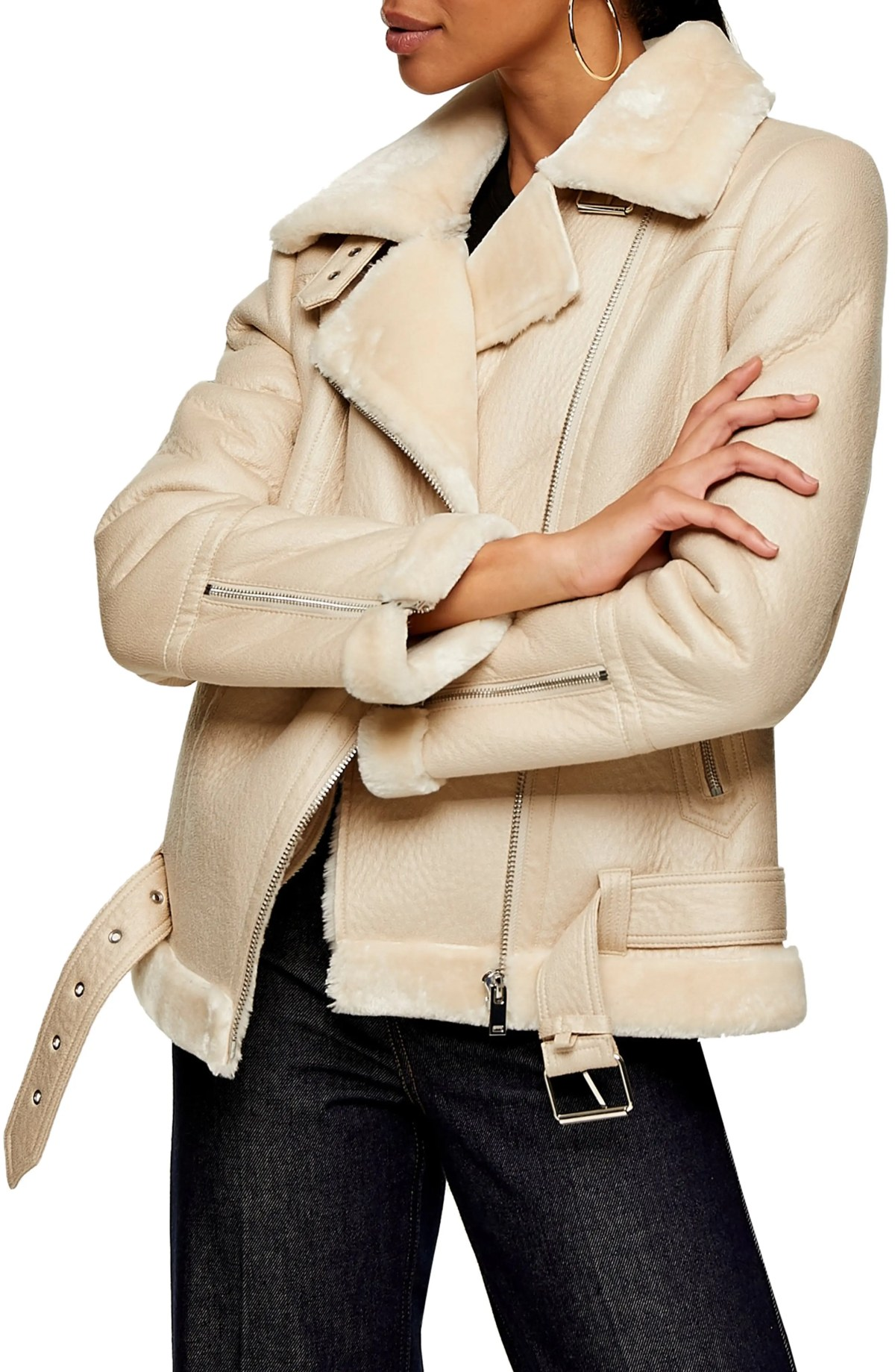 TOPSHOP Faux Fur & Faux Leather Moto Jacket, Main, color, CREAM