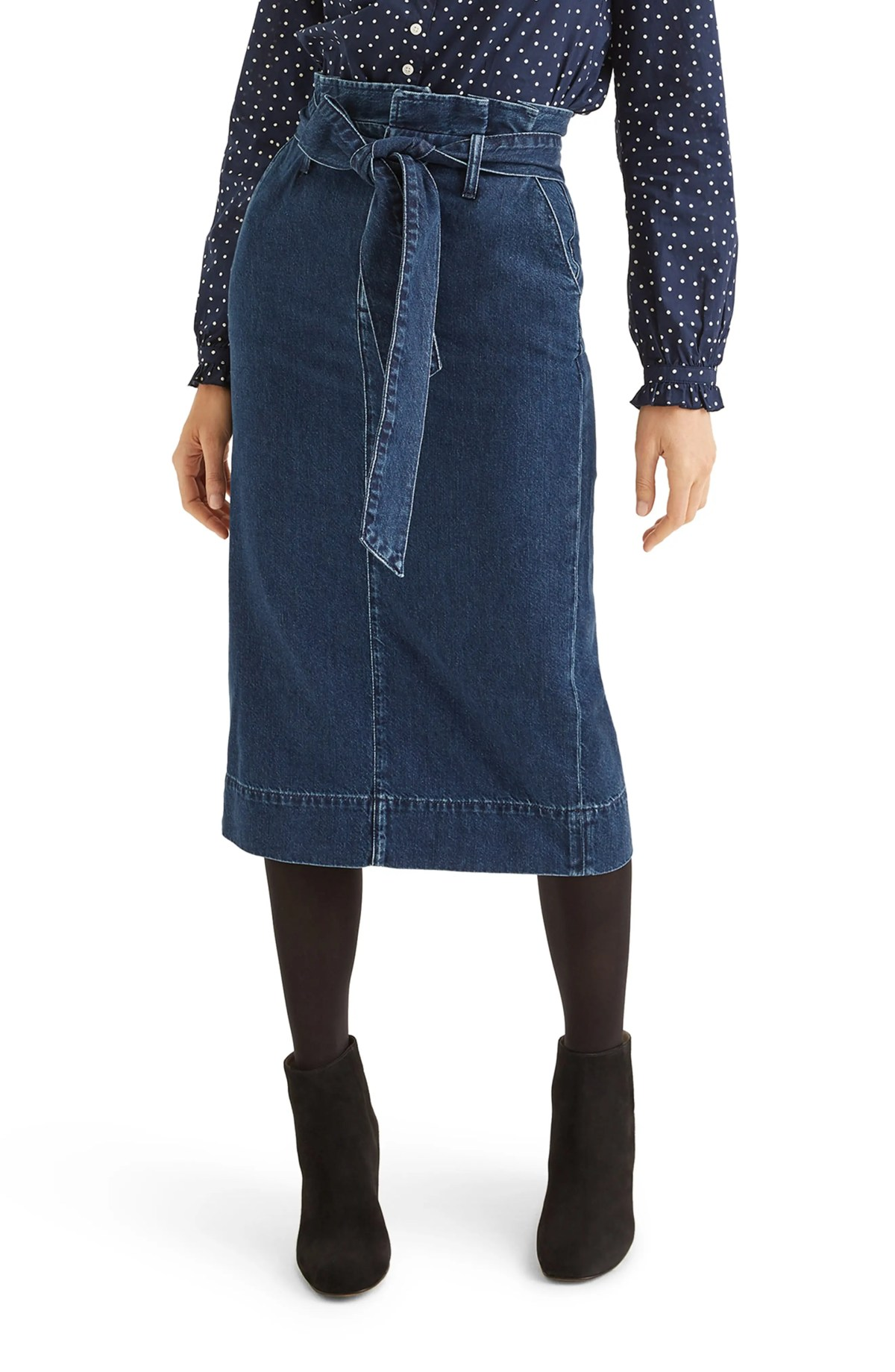 Cara Denim Paperbag Midi Skirt, Main, color, MID VINTAGE