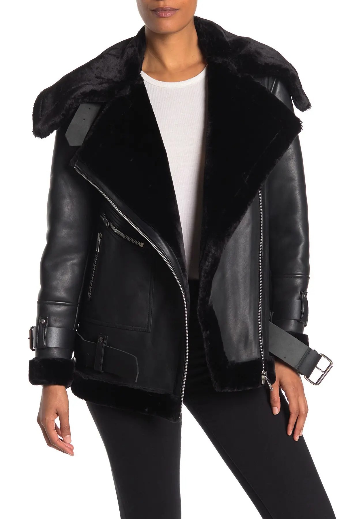 Image of Walter Baker Celine Faux Fur Leather Jacket
