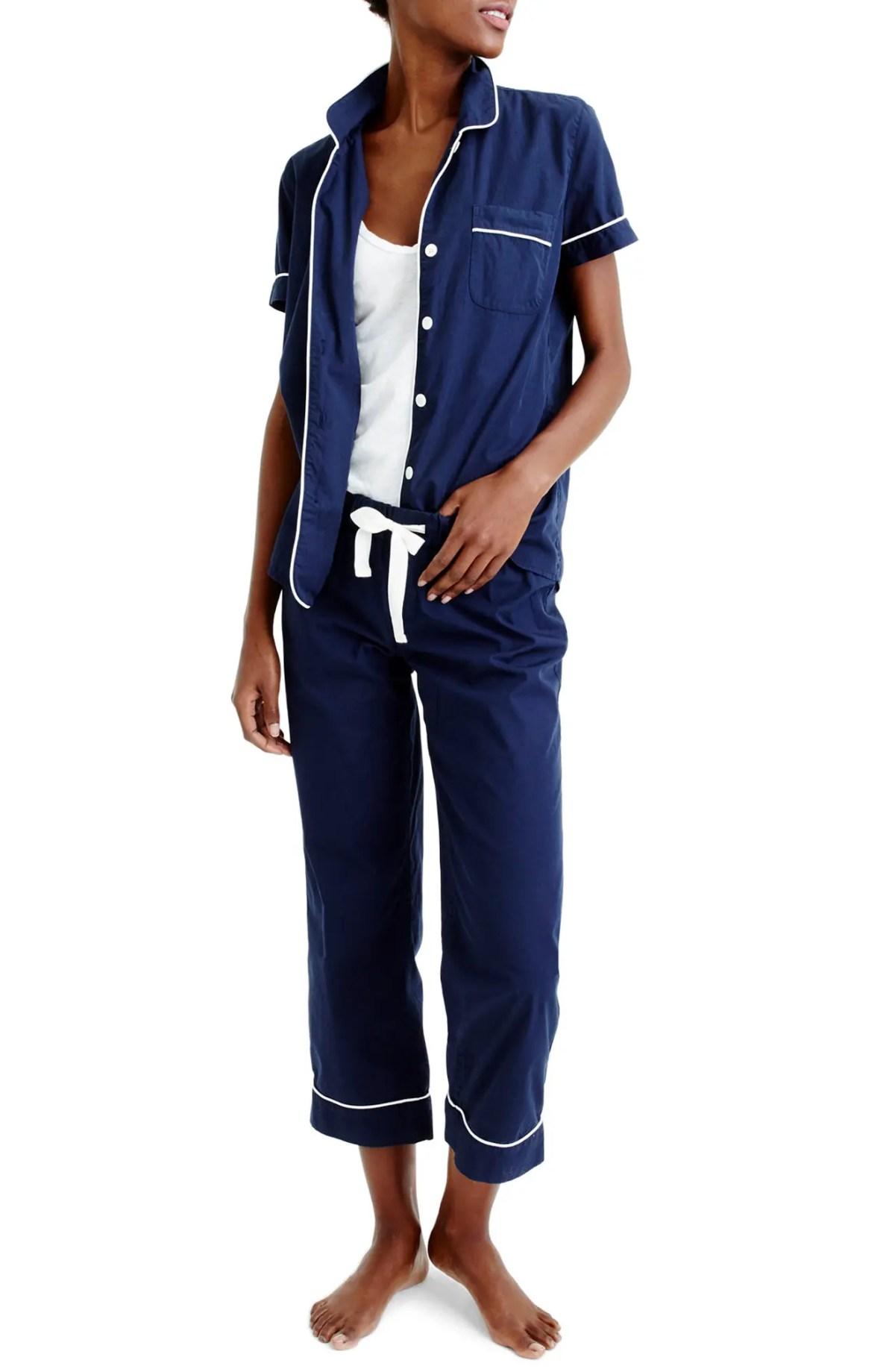 Vintage Cotton Pajamas, Main, color, NAVY