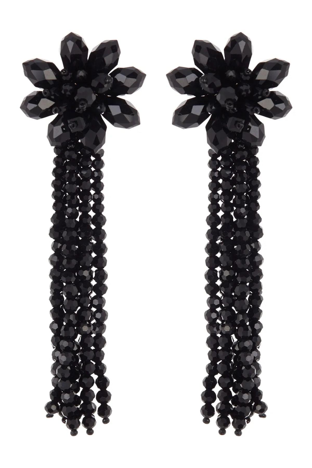 kate spade new york crystal flower tassel statement earrings nordstrom rack
