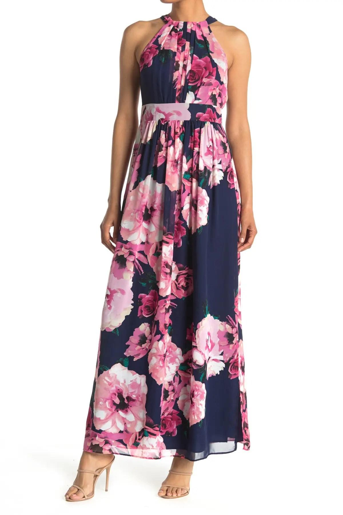 eliza j floral printed halter maxi dress nordstrom rack