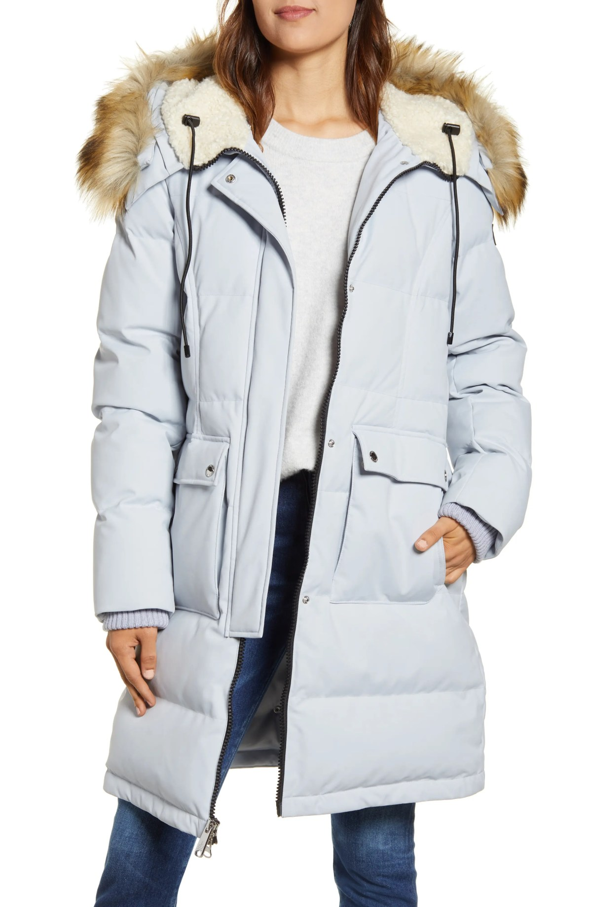 SAM EDELMAN Down & Feather Puffer Coat with Faux Fur Trim, Main, color, LIGHT BLUE