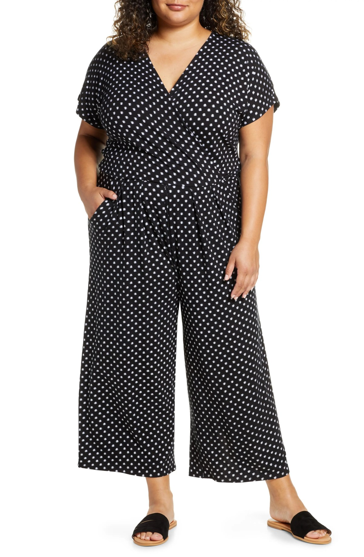 LOVEAPPELLA Wrap Wide Leg Cropped Jumpsuit, Main, color, BLACK/ IVORY