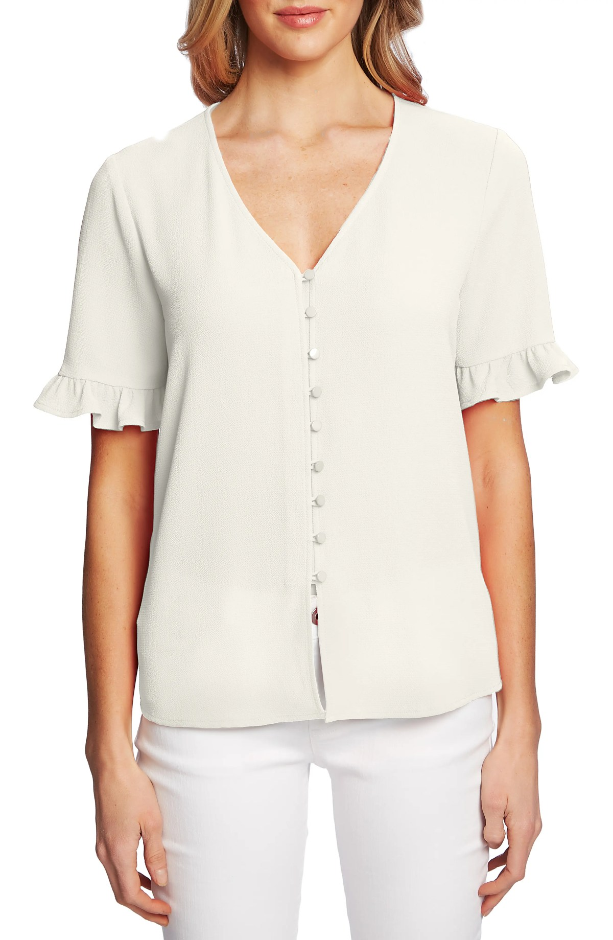 CECE Ruffle Sleeve Crepe Blouse, Main, color, SOFT ECRU