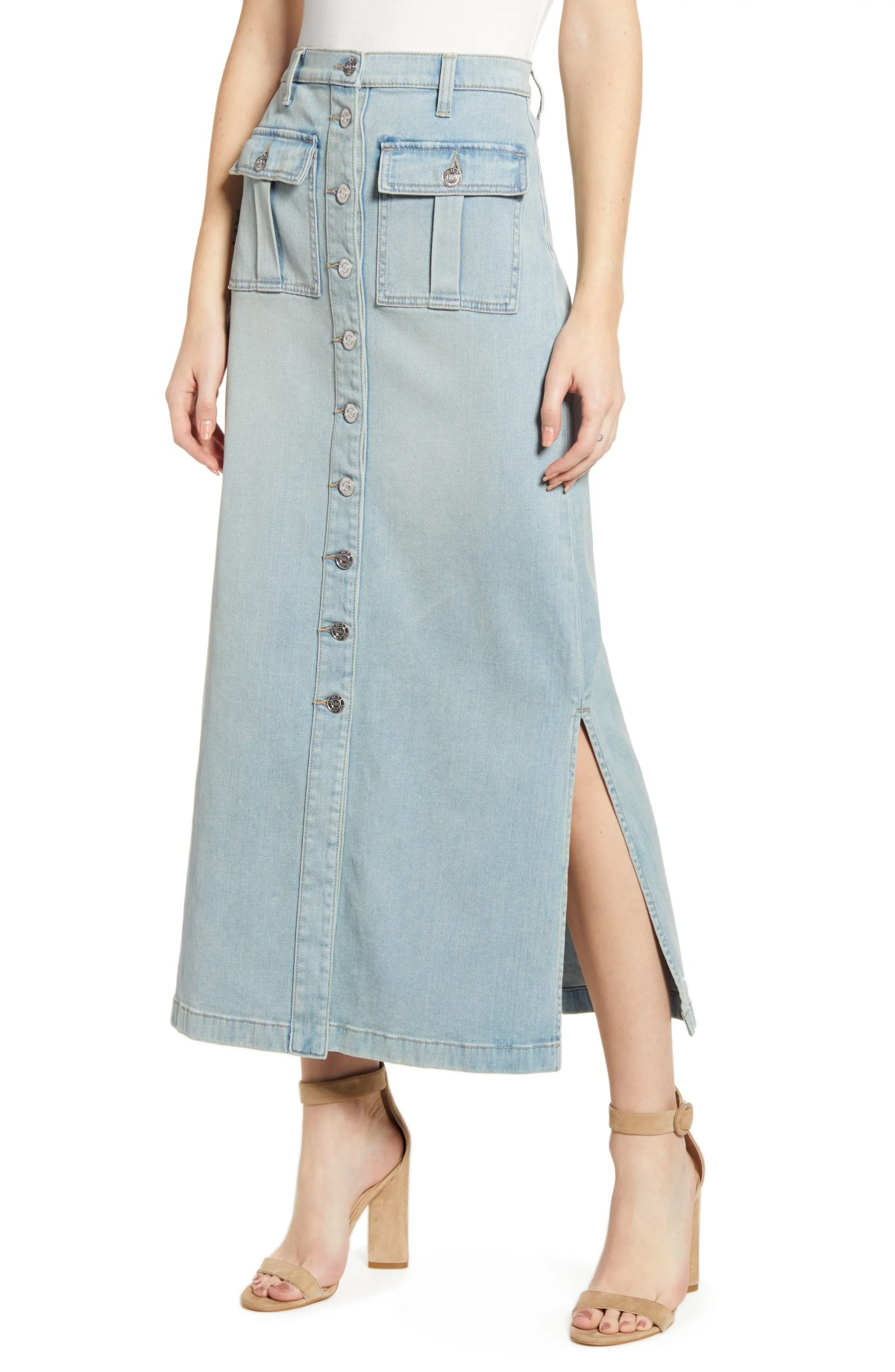 The Surfview Denim Maxi Skirt, Main, color, BLUE WAVE