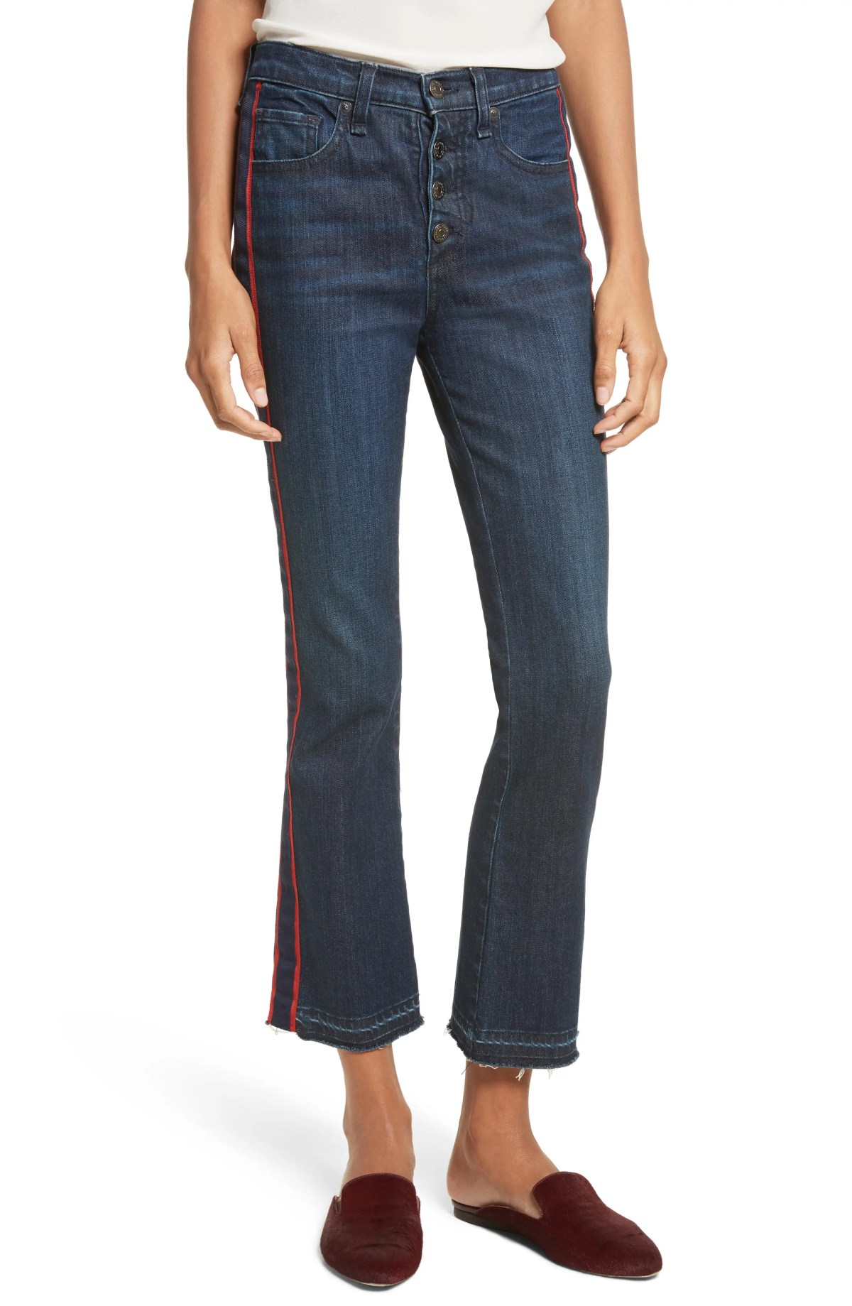 VERONICA BEARD Carolyn Tuxedo Stripe Baby Boot Crop Jeans, Main, color, MIDNIGHT FRAY/ RED