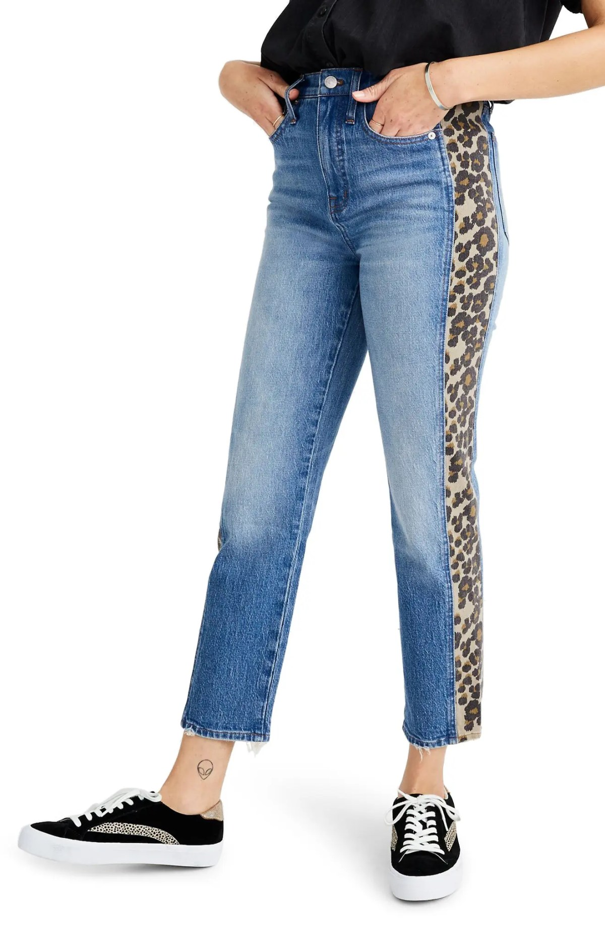 MADEWELL Leopard Tux Classic Straight Leg Crop Jeans, Main, color, ESTHERWOOD WASH
