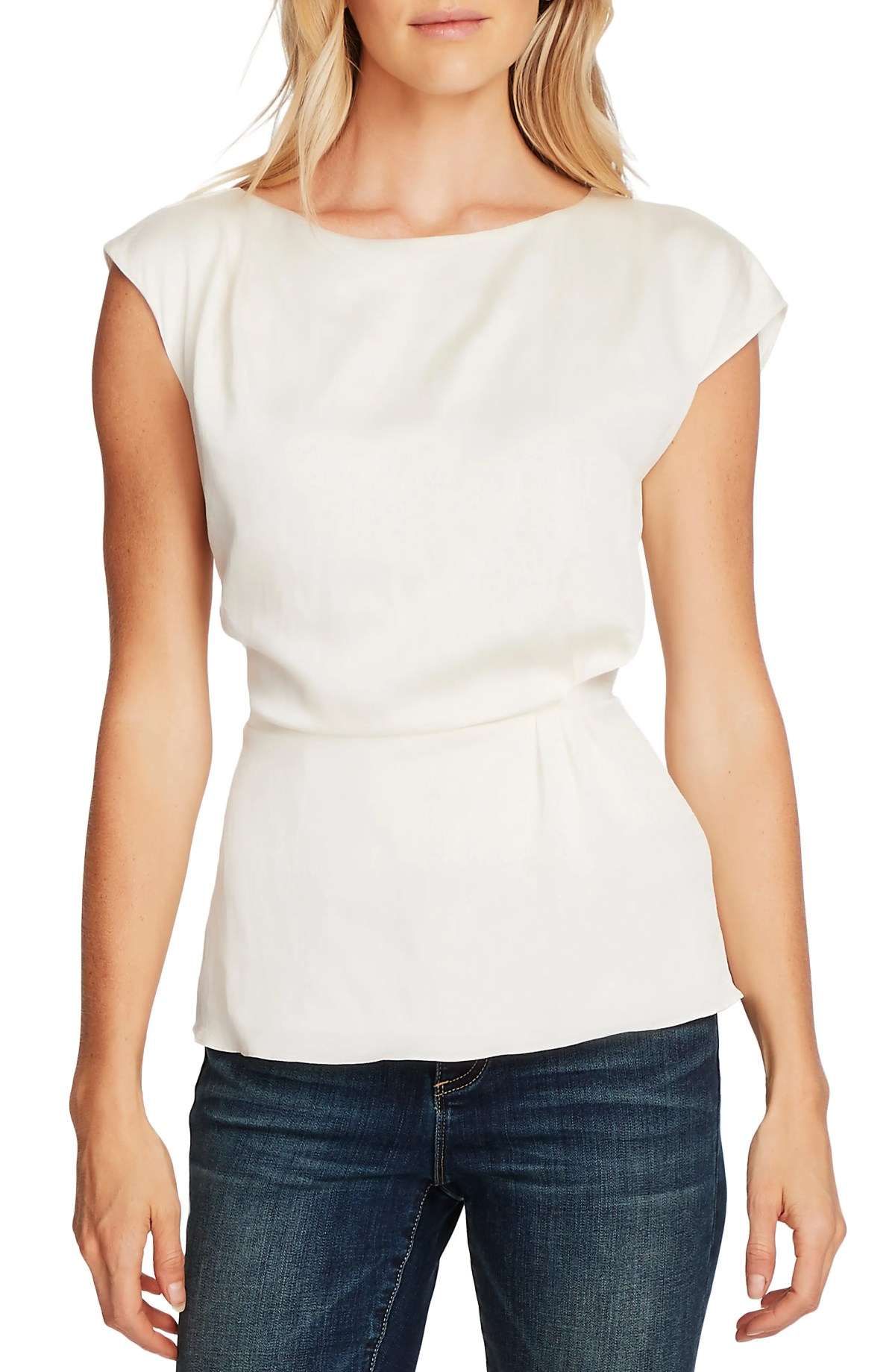 VINCE CAMUTO Cap Sleeve Rumple Satin Peplum Blouse, Main, color, PEARL IVORY