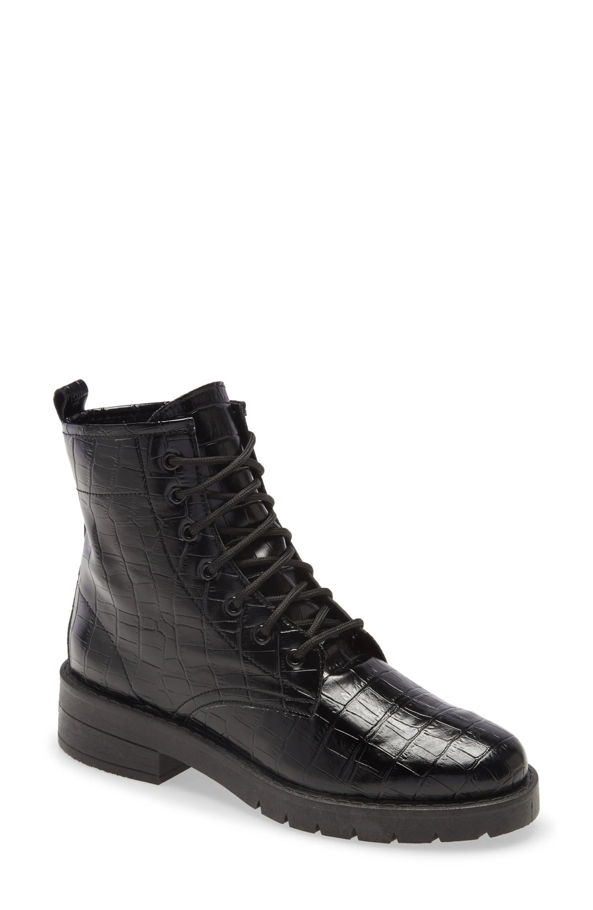 TOPSHOP Buster Lace-Up Boot, Main, color, BLACK