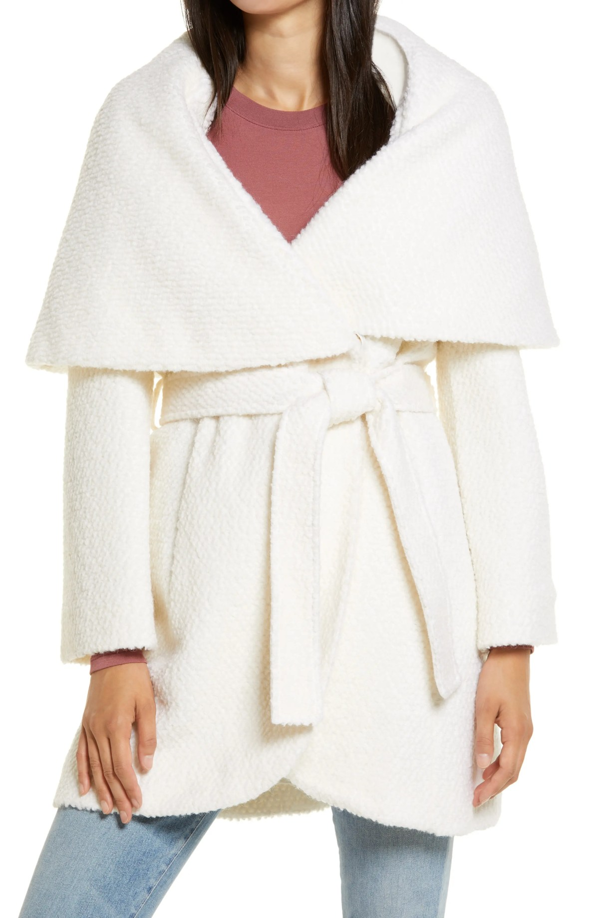 RACHEL PARCELL Bouclé Wool Blend Wrap Coat, Main, color, IVORY CLOUD