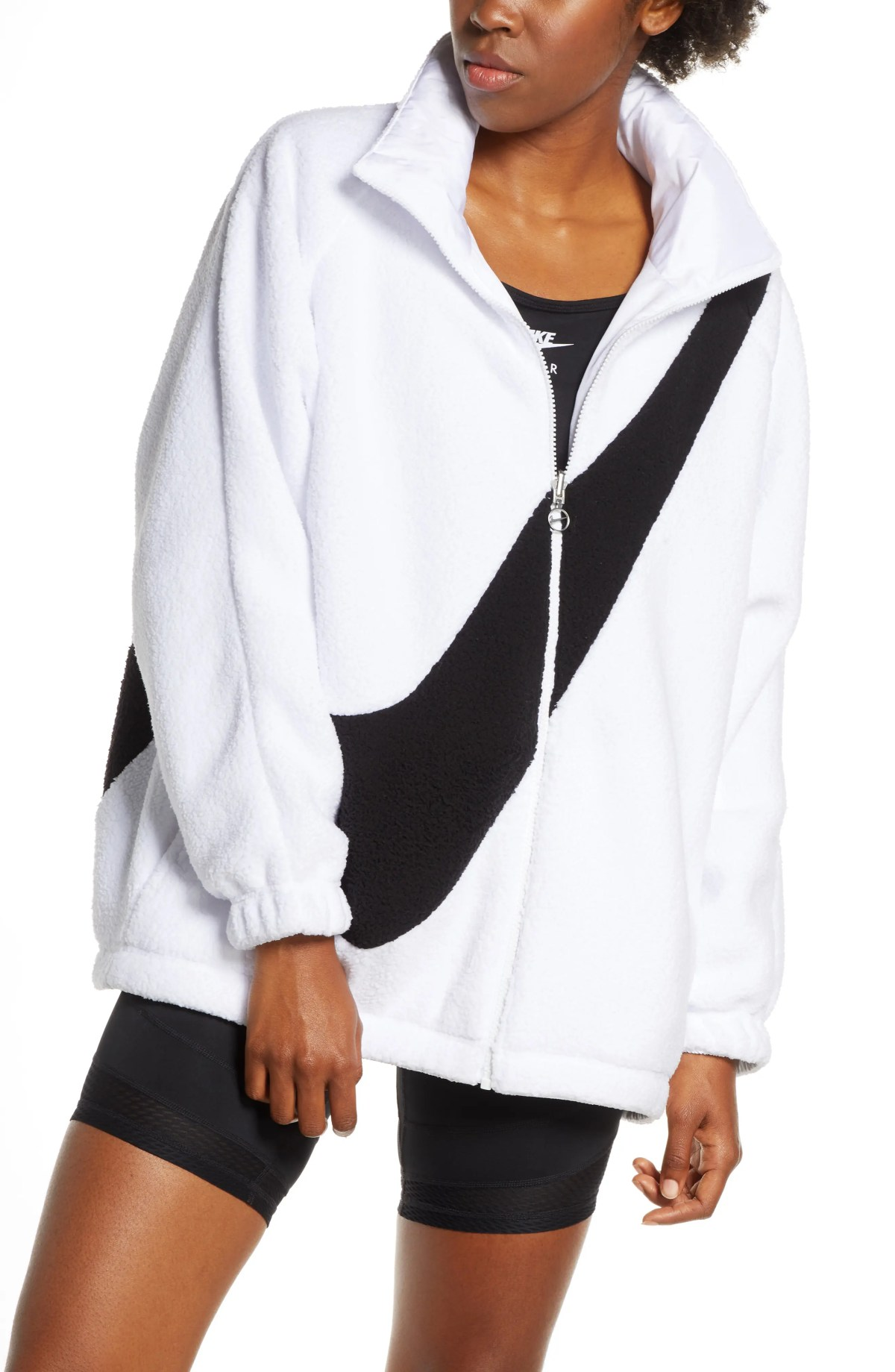NIKE Sportswear Swoosh Reversible Faux Shearling Jacket, Main, color, WHITE/ BLACK