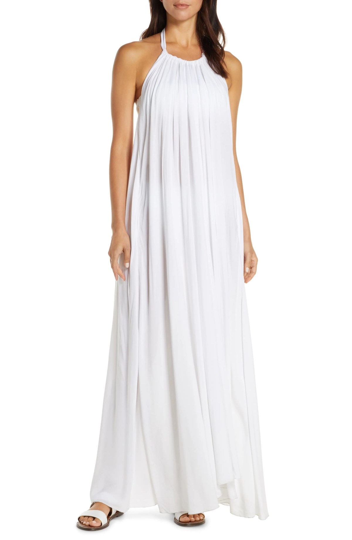 Cover-Up Maxi Dress, Main, color, WHITE