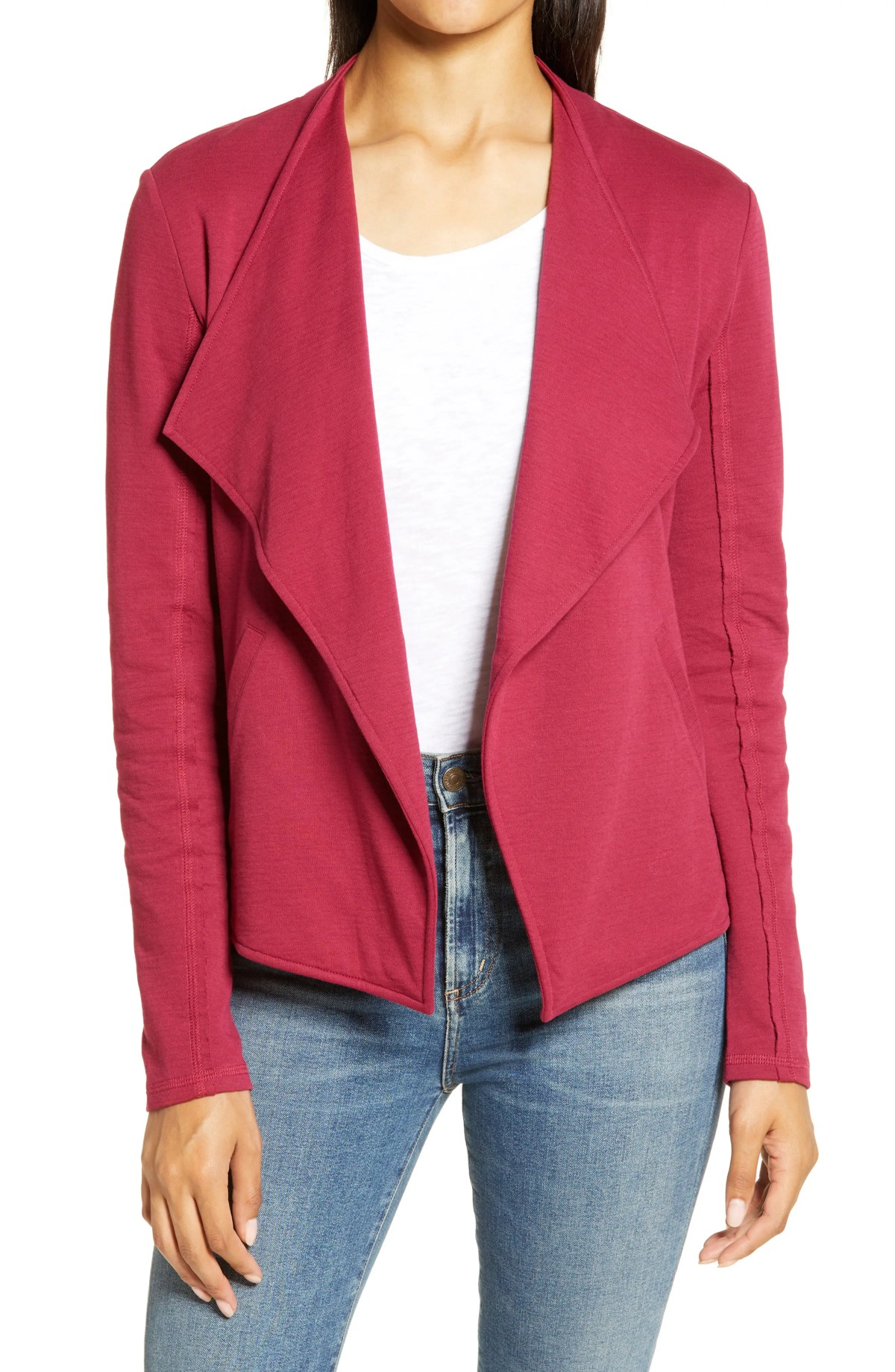 CASLON<SUP>®</SUP> Drape Collar Knit Blazer, Main, color, BURGUNDY BEET