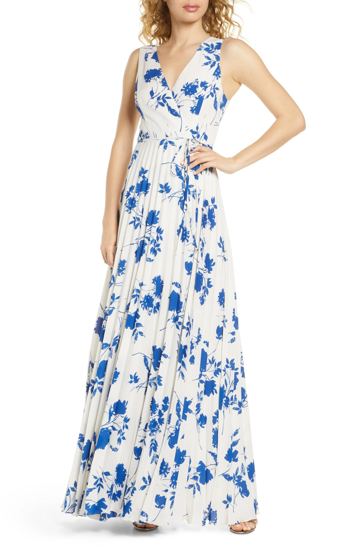 LULUS Lindsie Floral Pleated Wrap Front Maxi Dress, Main, color, CREAM/BLUE