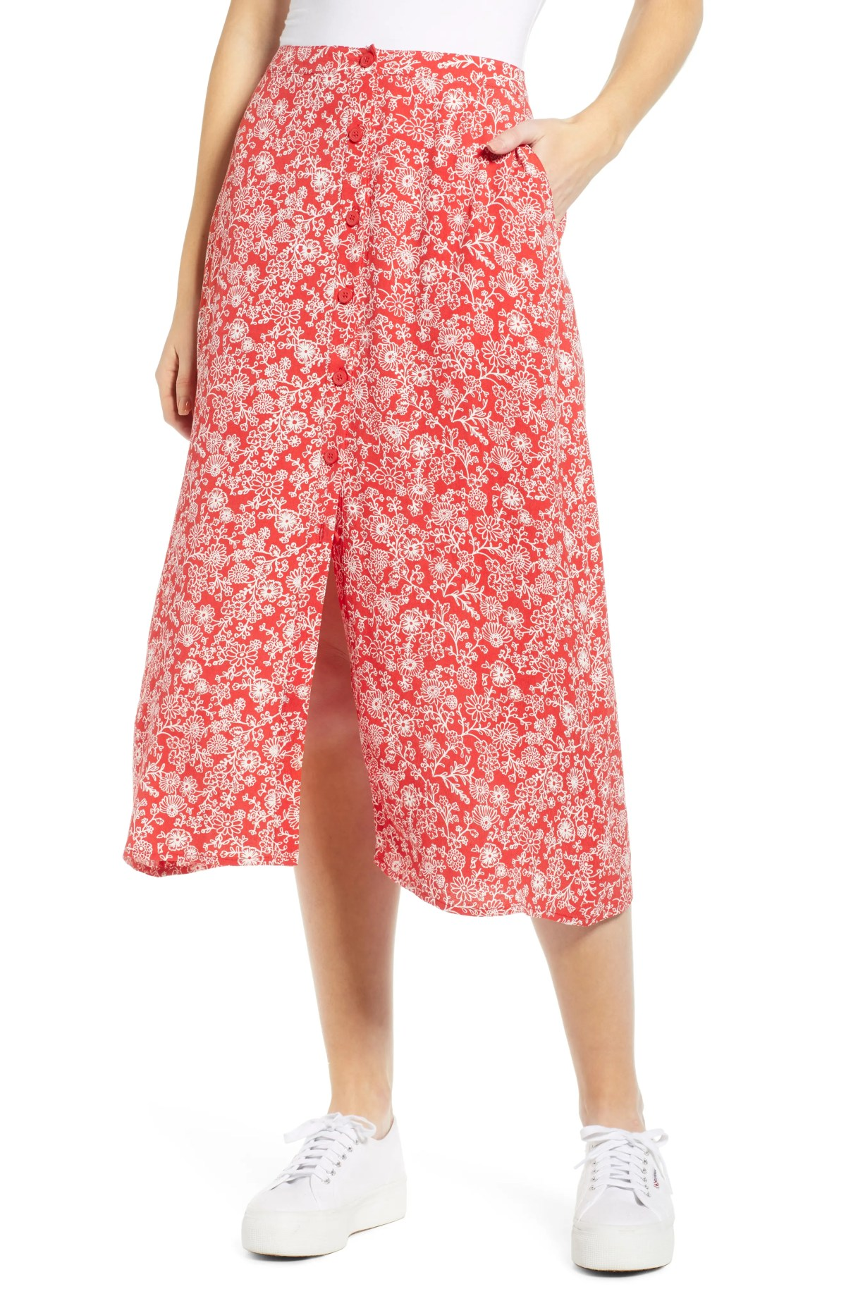 Floral Midi Skirt, Main, color, RED BLOOM VINED DAISIES