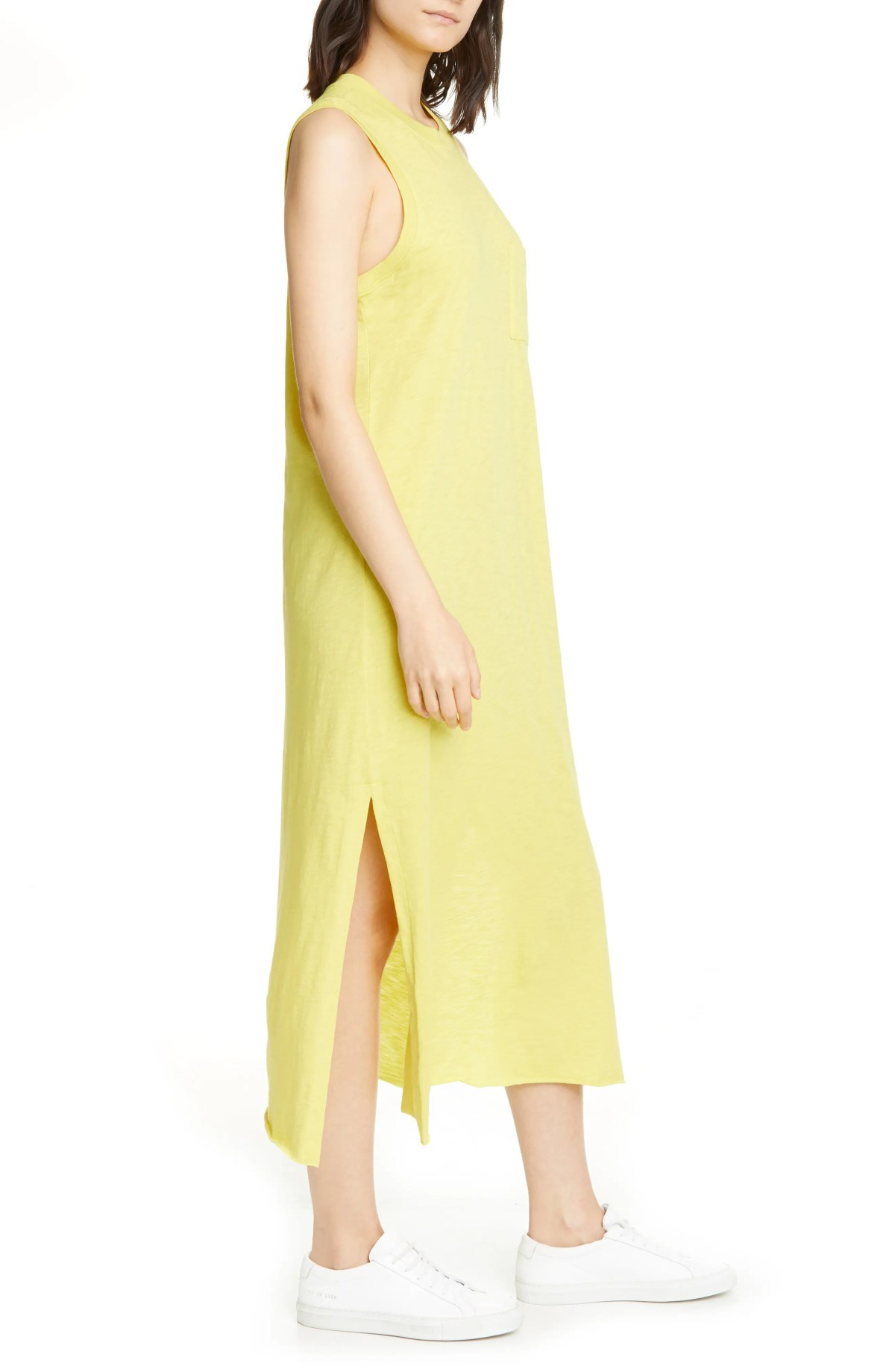 ATM ANTHONY THOMAS MELILLO Pocket Midi T-Shirt Dress, Alternate, color, CANARY