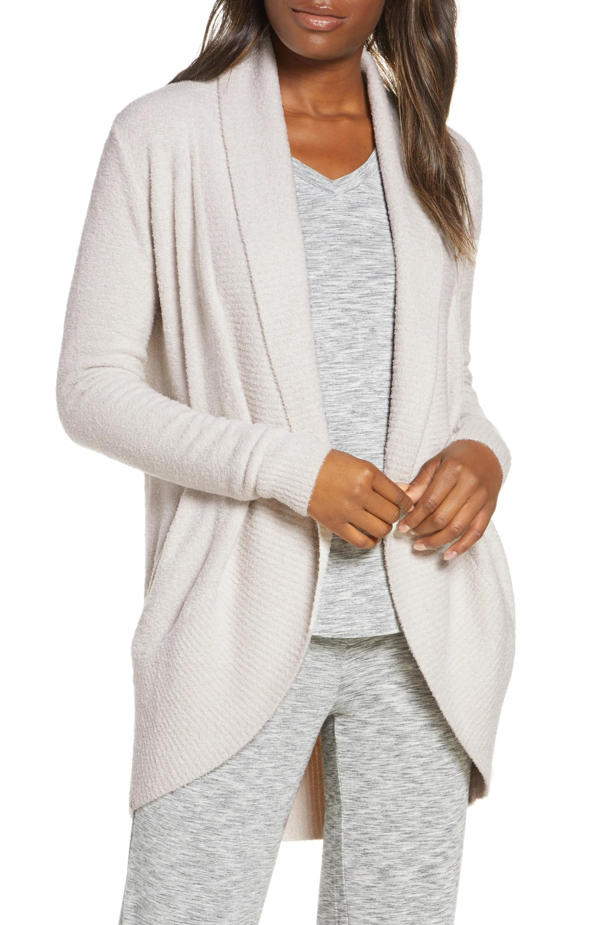 BAREFOOT DREAMS<SUP>®</SUP> CozyChic Lite<sup>®</sup> Circle Cardigan, Main, color, H SILVER PEARL