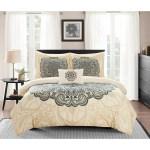 Chic Home Bedding Queen Almira Reversible Boho Inspired Large Scale Medallion Print Design Comforter 8 Piece Set Beige Hautelook