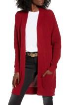 Longline Open Cardigan, Main, color, RED RHUBARB