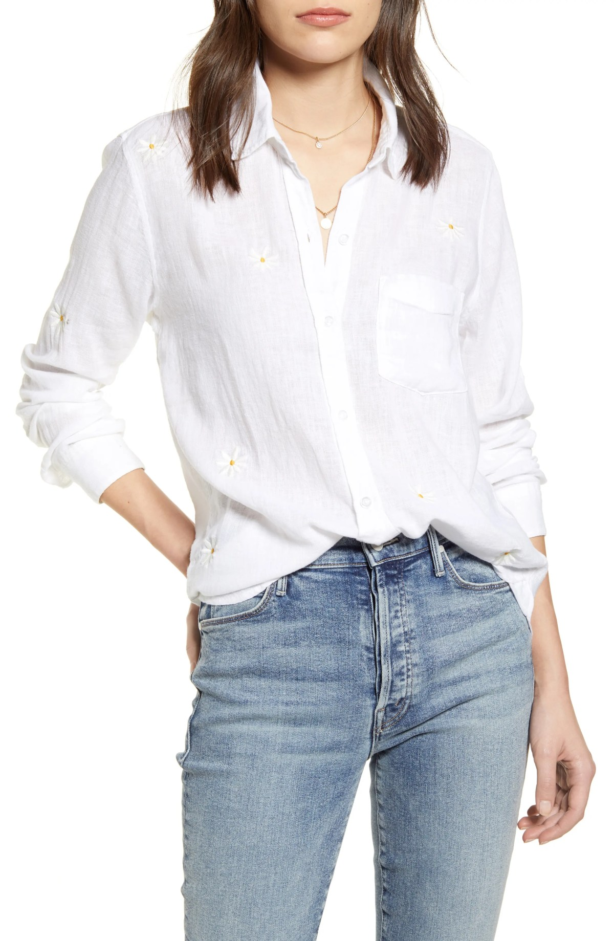 RAILS Charli Shirt, Main, color, WHITE DAISY EMBROIDERY