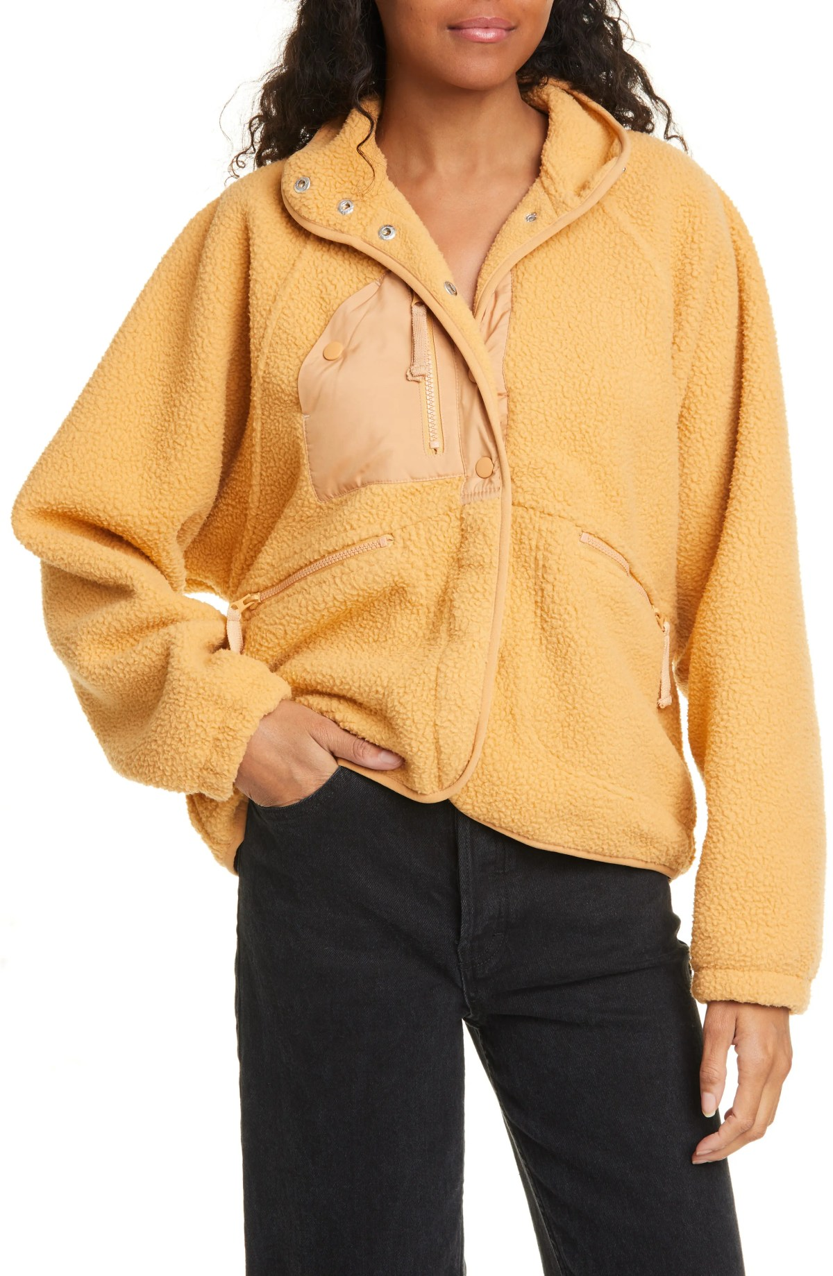 FREE PEOPLE FP Movement Hit the Slopes Fleece Jacket, Main, color, MOROCCAN AMBER