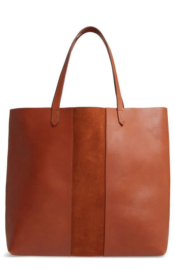 Suede Stripe Transport Leather Tote, Main, color, MAPLE SYRUP