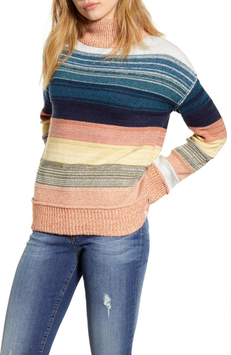 Turtleneck Stripe Sweater, Main, color, CORAL MULTI STRIPE