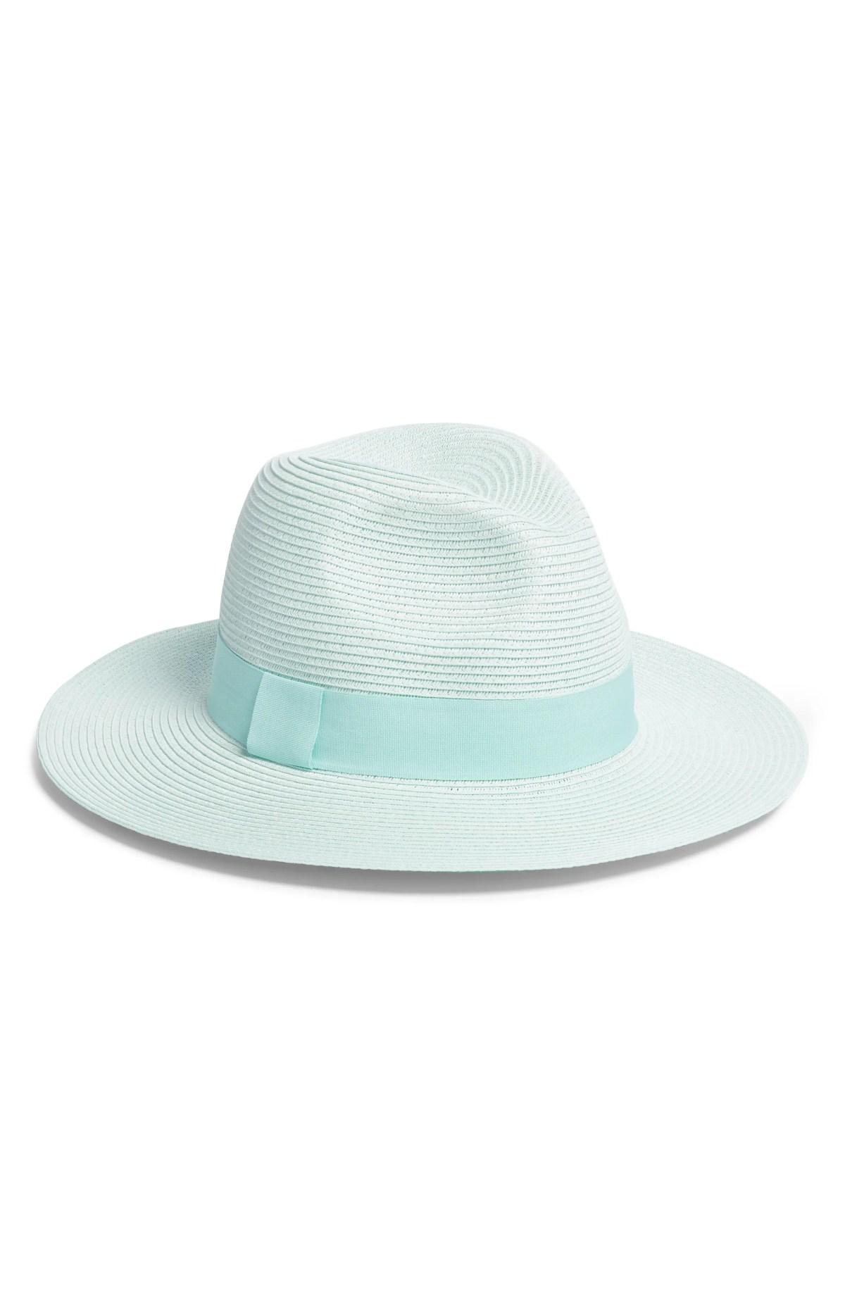 Woven Panama Hat, Main, color, GREEN AQUA