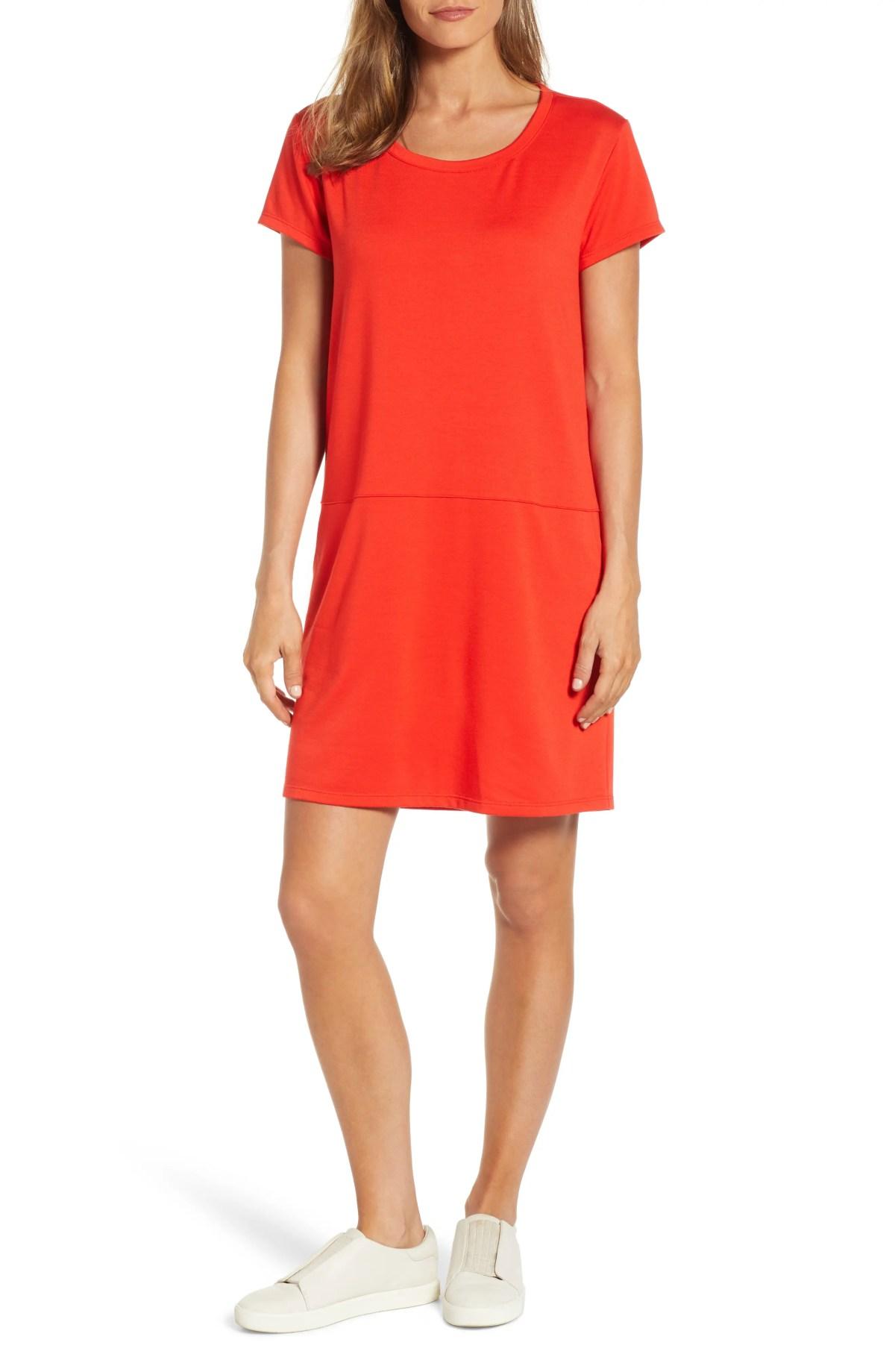 Knit Shift Dress, Main, color, RED SCARLET