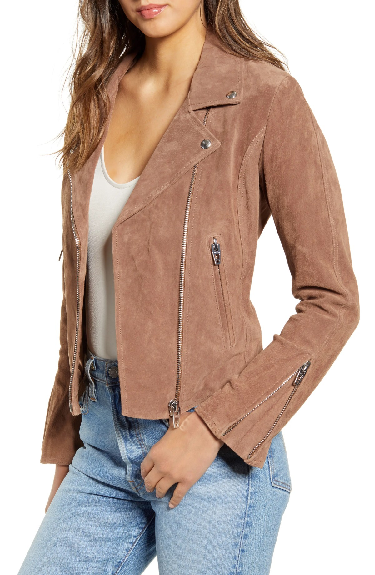 Next Level Suede Moto Jacket, Main, color, COFFEE BEAN