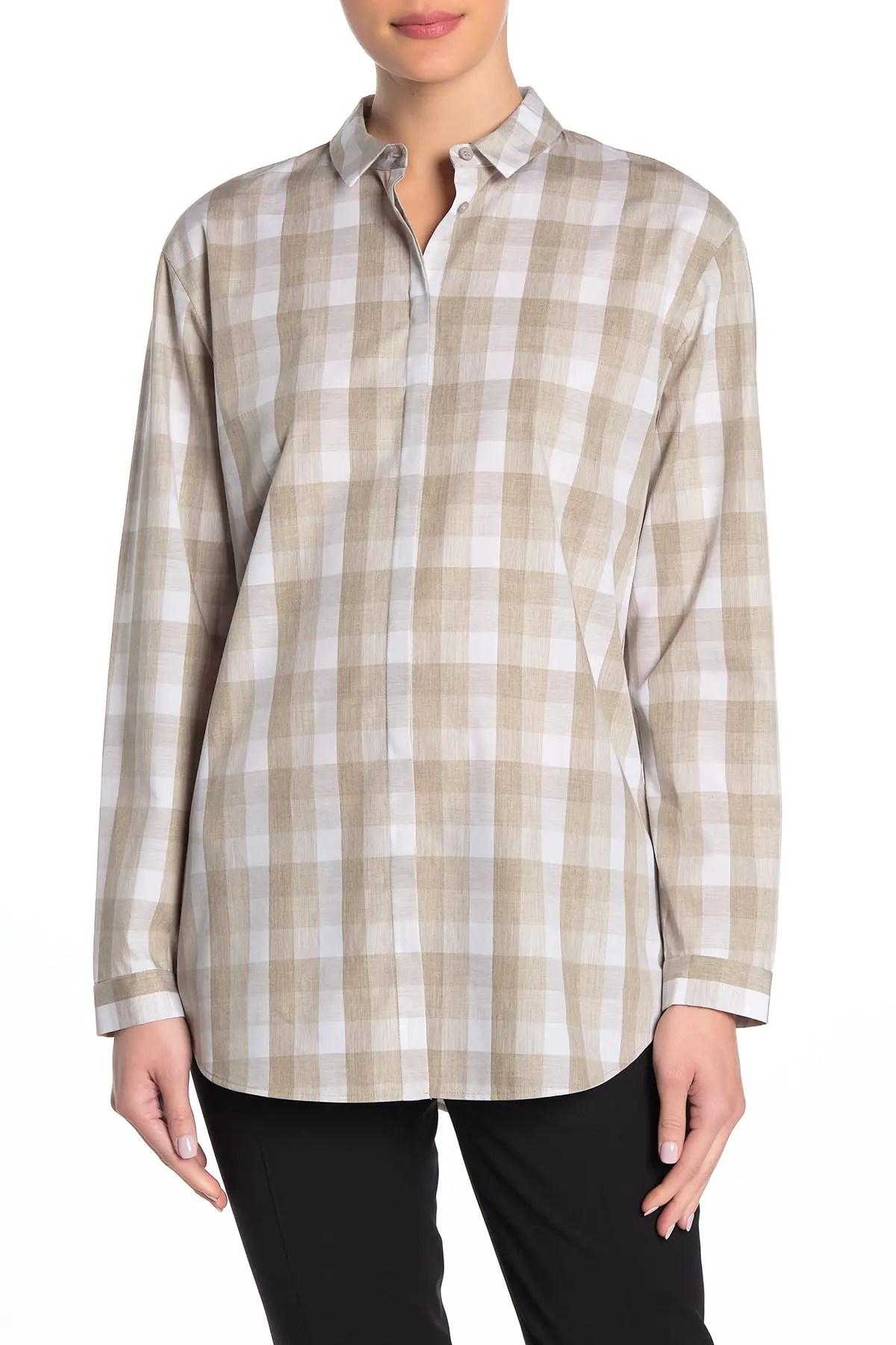 lafayette 148 new york sabira plaid button down blouse nordstrom rack